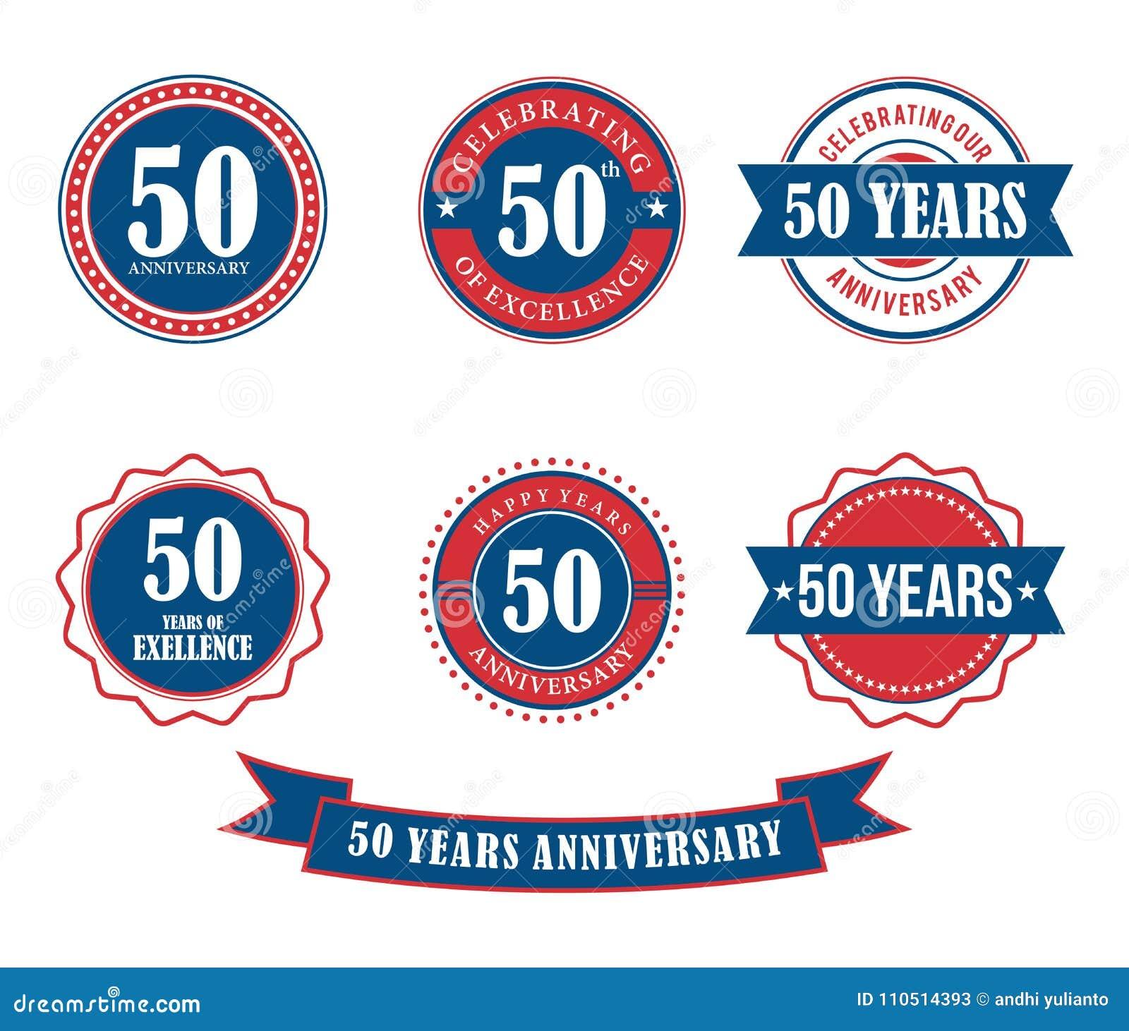50 anni di anniversario del distintivo dell emblema di vettore del bollo