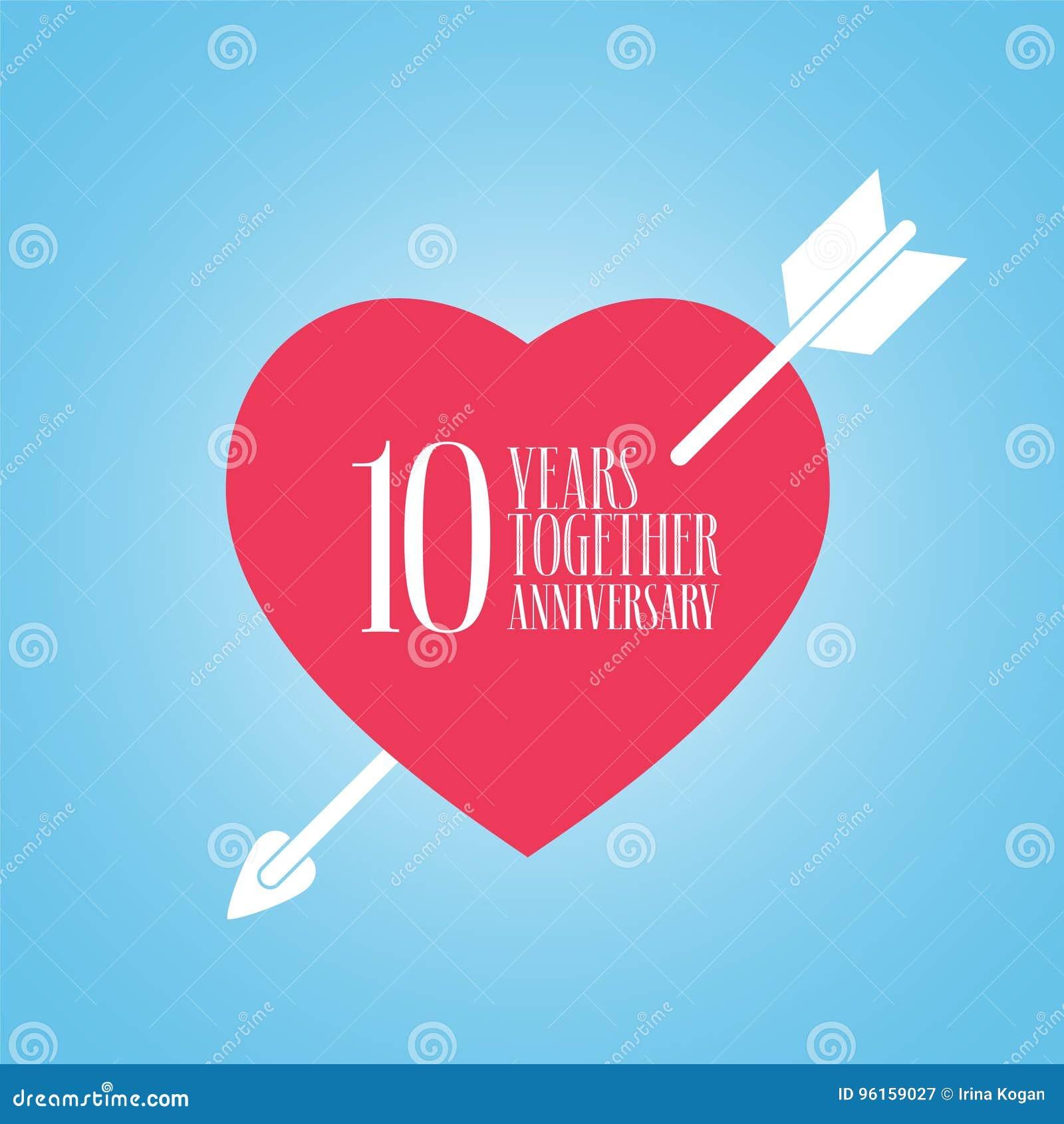 Anniversario Matrimonio Dieci Anni.10 Anni Di Anniversario Dell Icona Di Vettore Di Matrimonio O Di