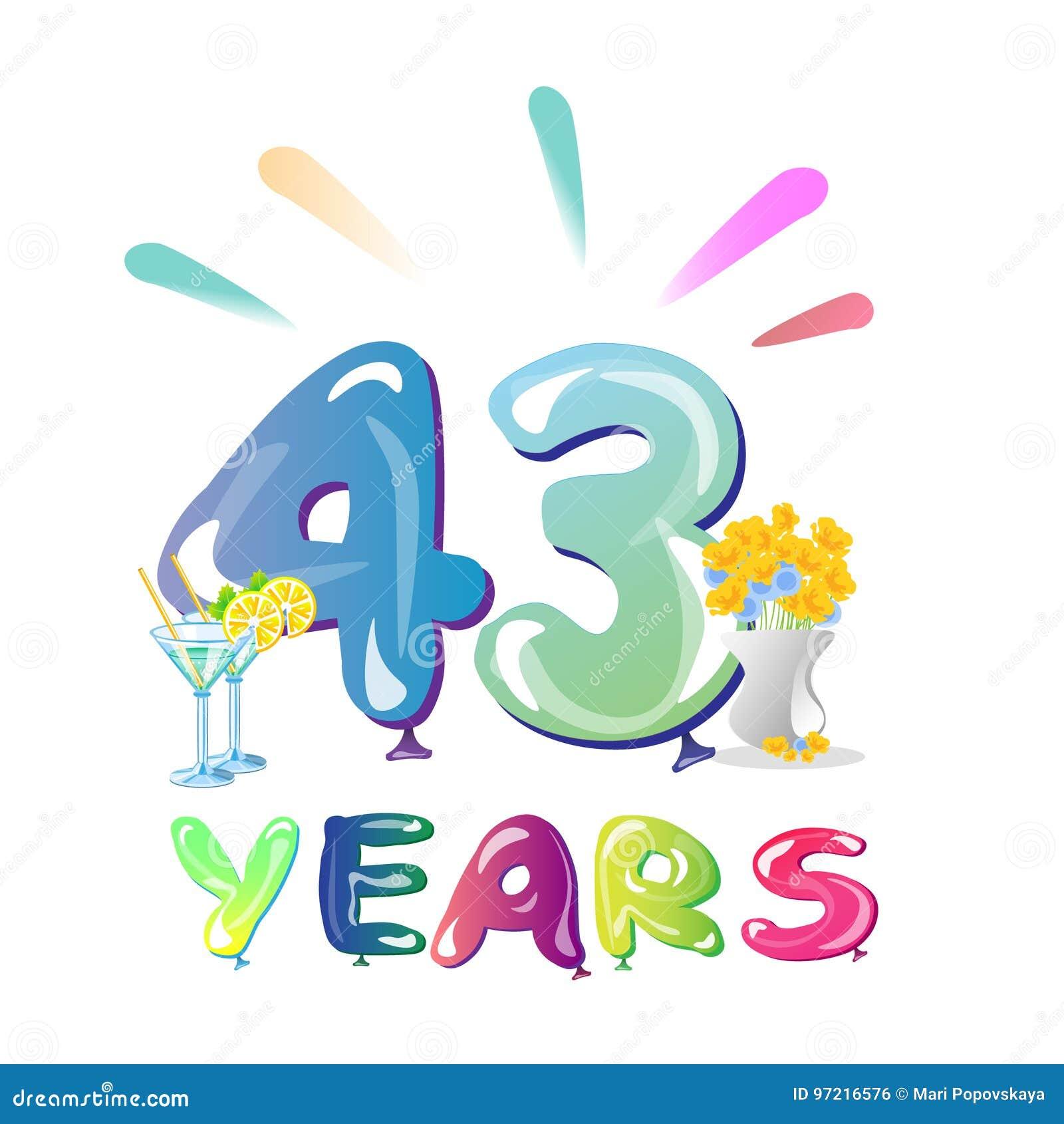 43 anni di anniversario di palloni di celebrazione