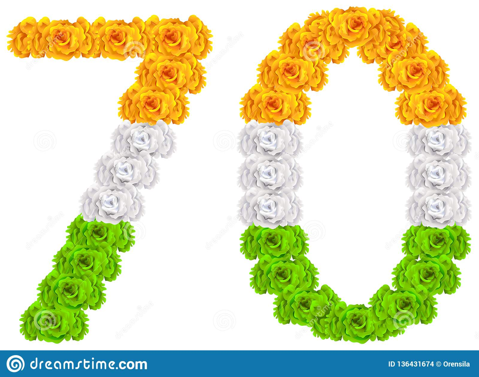 70 anni di anniversario di giorno India della repubblica Numero 70 dei fiori tricolori della bandiera nazionale