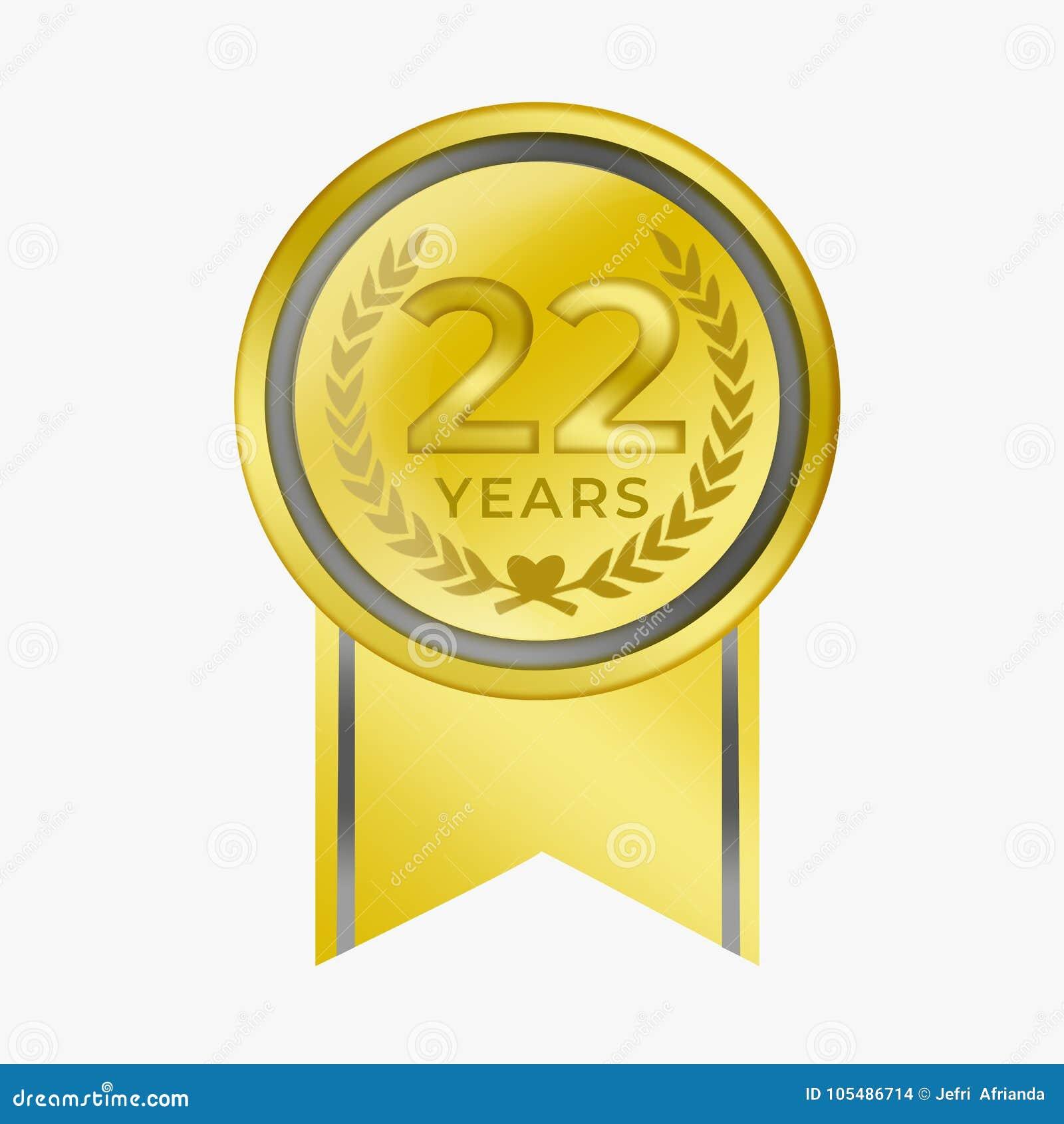 22 anni di anniversario di moneta dell oro di certificazione di premio di congratulazione con bianco del fondo