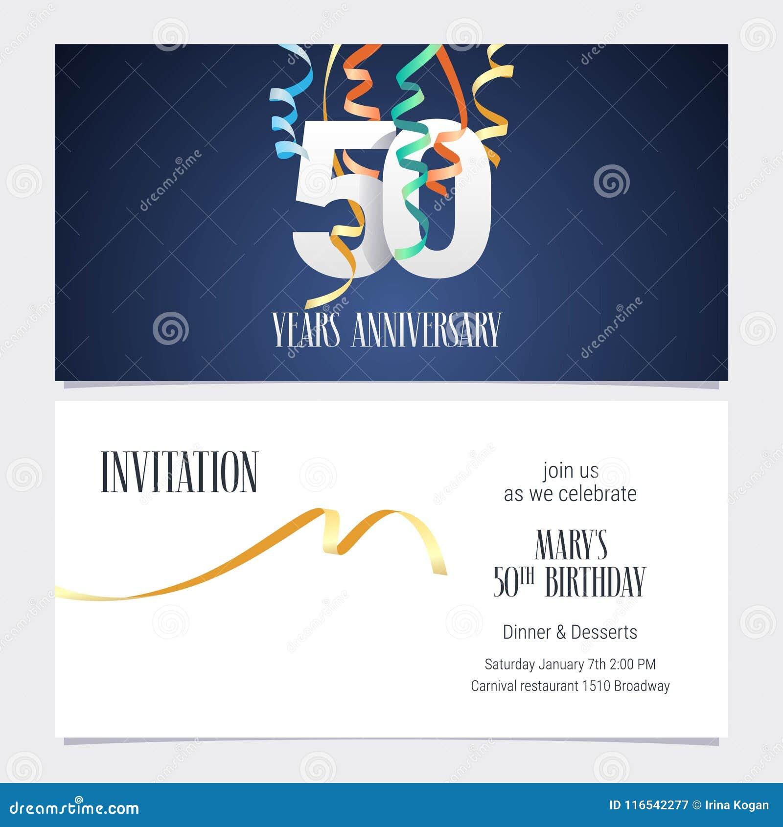 50 Anni Di Anniversario Di Vettore Dell Invito Illustrazione