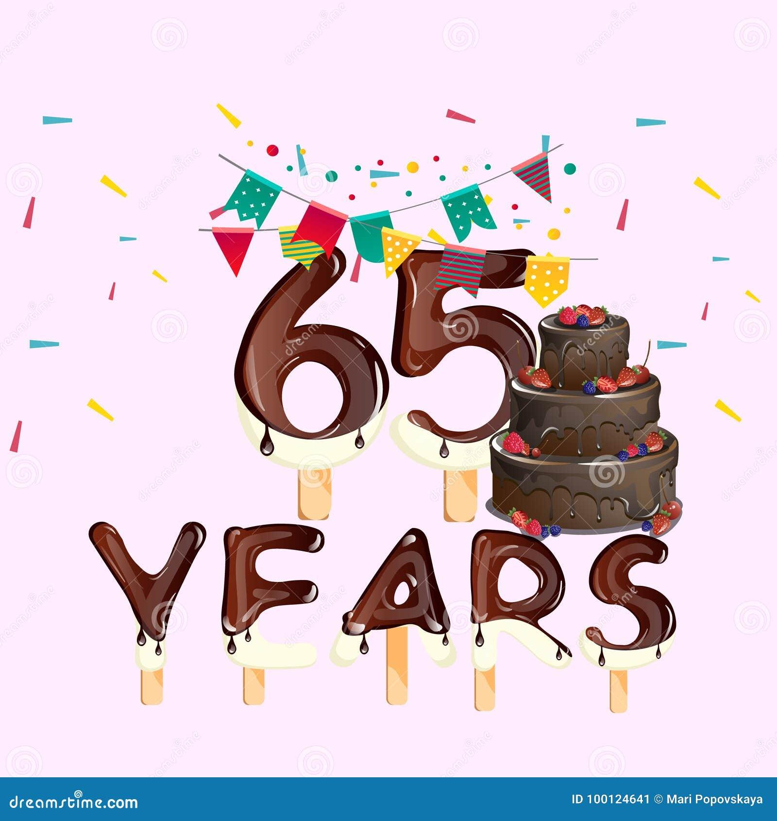 Auguri Di Buon Compleanno 65 Anni.65 Anni Di Biglietto Di Auguri Per Il Compleanno Felice