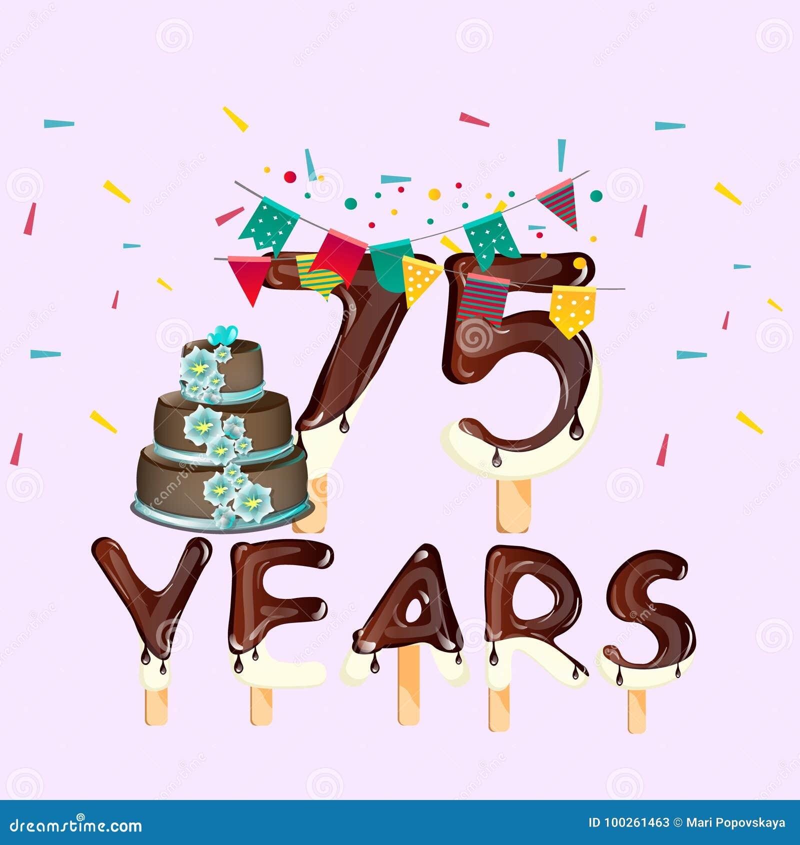 Auguri Di Buon 75 Compleanno.75 Anni Di Biglietto Di Auguri Per Il Compleanno Felice
