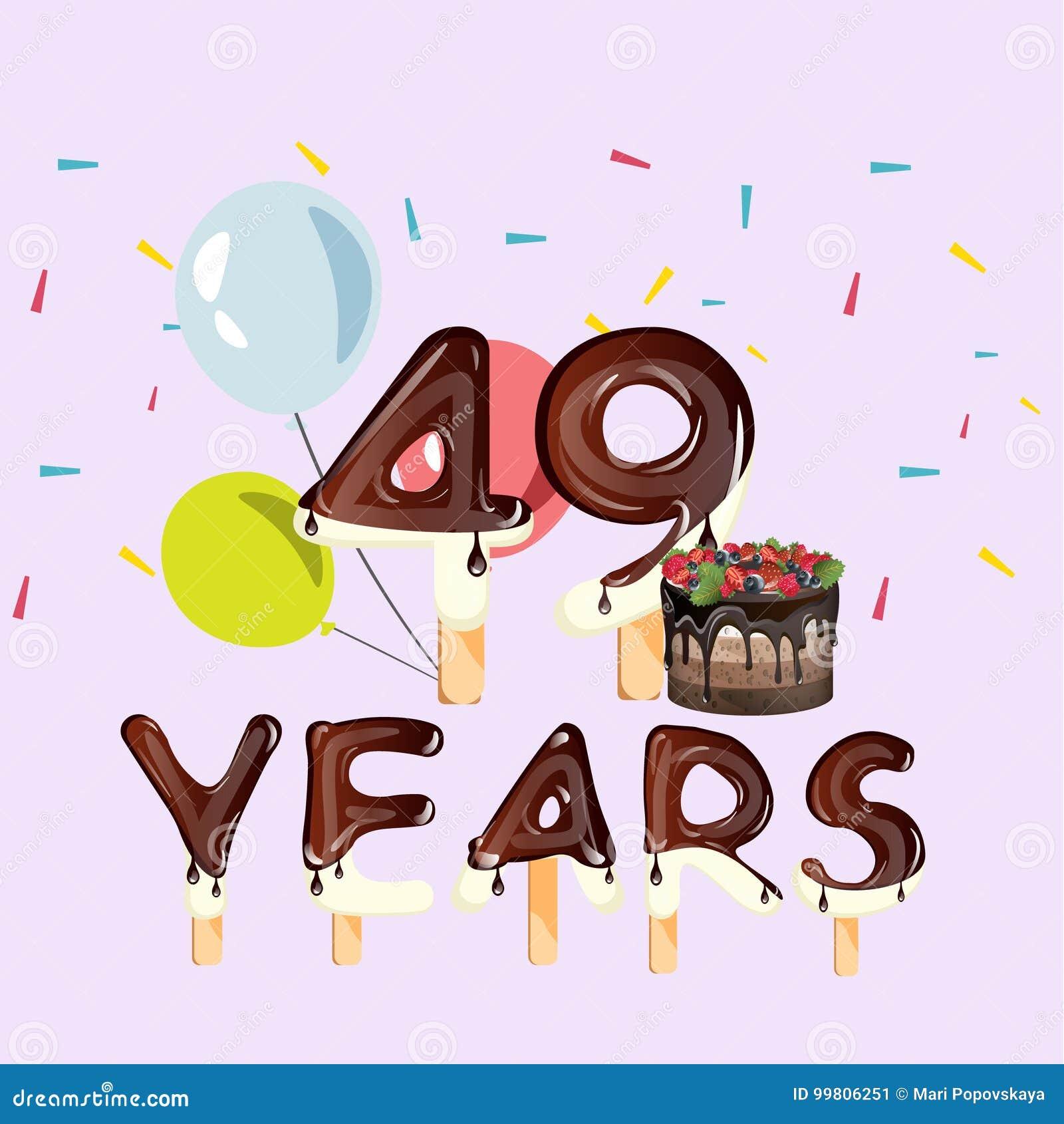 Auguri Buon Compleanno 49 Anni.49 Anni Di Biglietto Di Auguri Per Il Compleanno Felice
