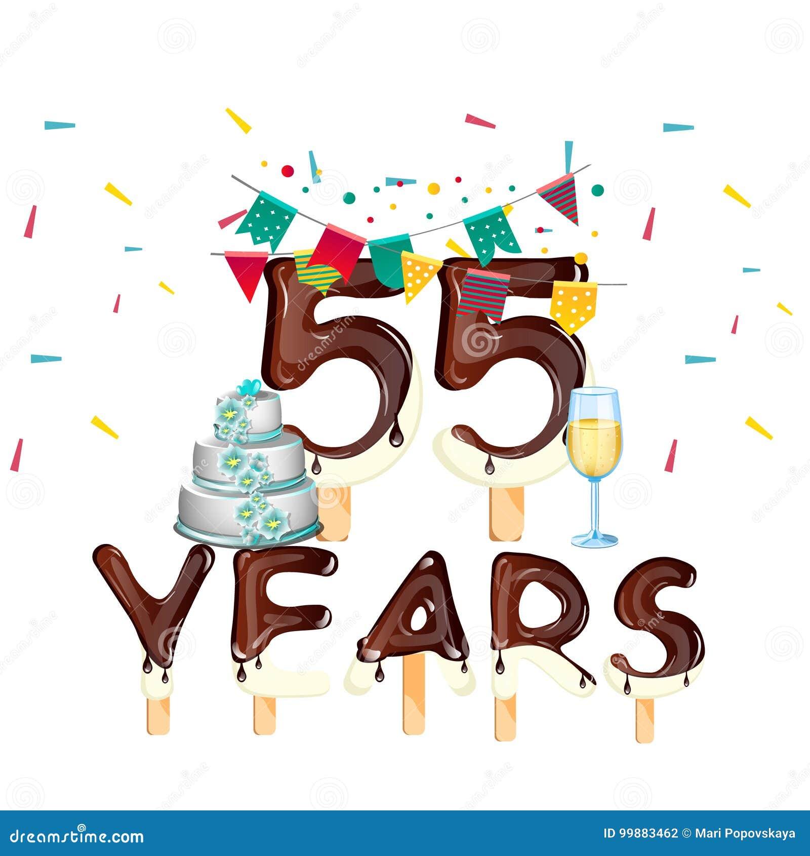 Auguri Buon Compleanno 55 Anni.55 Anni Di Biglietto Di Auguri Per Il Compleanno Felice