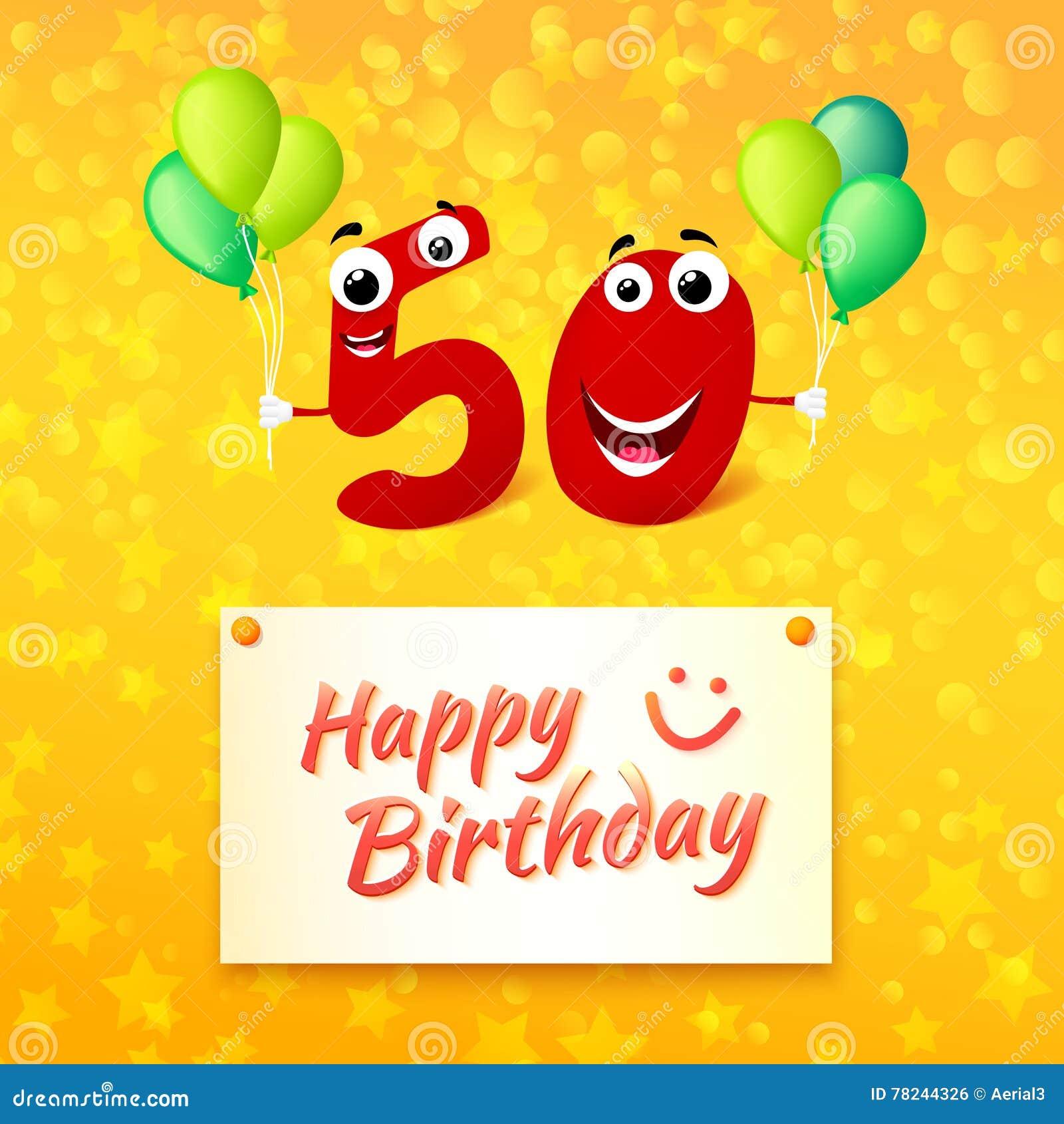 50 Anni Di Buon Compleanno Di Cartolina D Auguri Variopinta