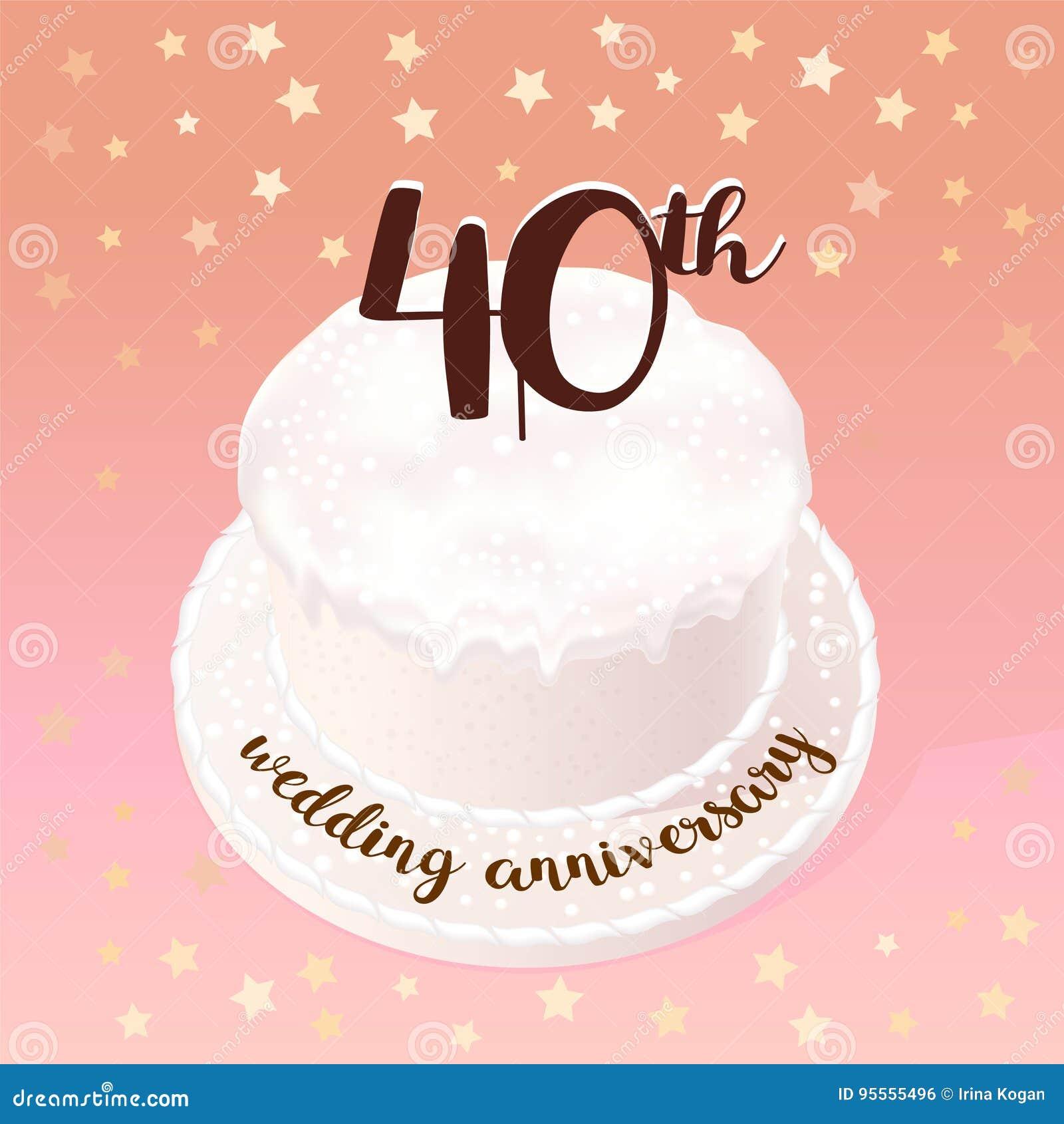 Quarantesimo Anniversario Matrimonio.40 Anni Di Icona Di Matrimonio O Di Nozze Illustrazione