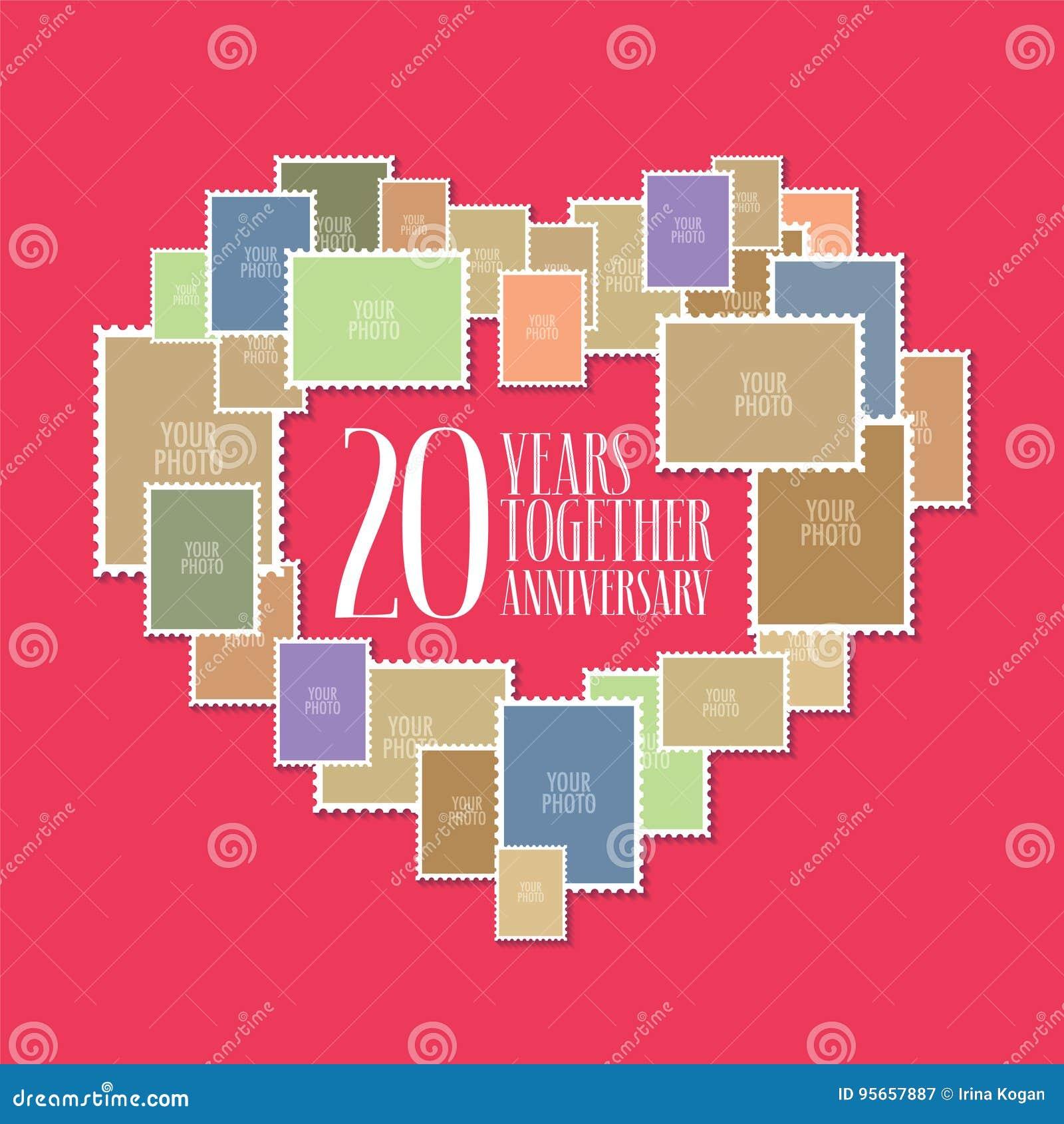 Anniversario Di Matrimonio 20.20 Anni Di Icona Di Matrimonio O Di Nozze Illustrazione