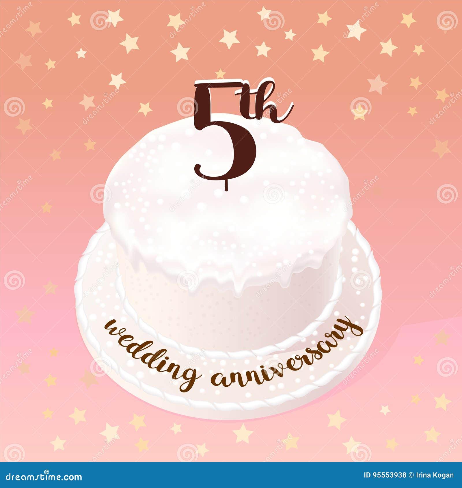 Anniversario 5 Anni Matrimonio.5 Anni Di Icona Di Vettore Di Matrimonio O Di Nozze Illustrazione