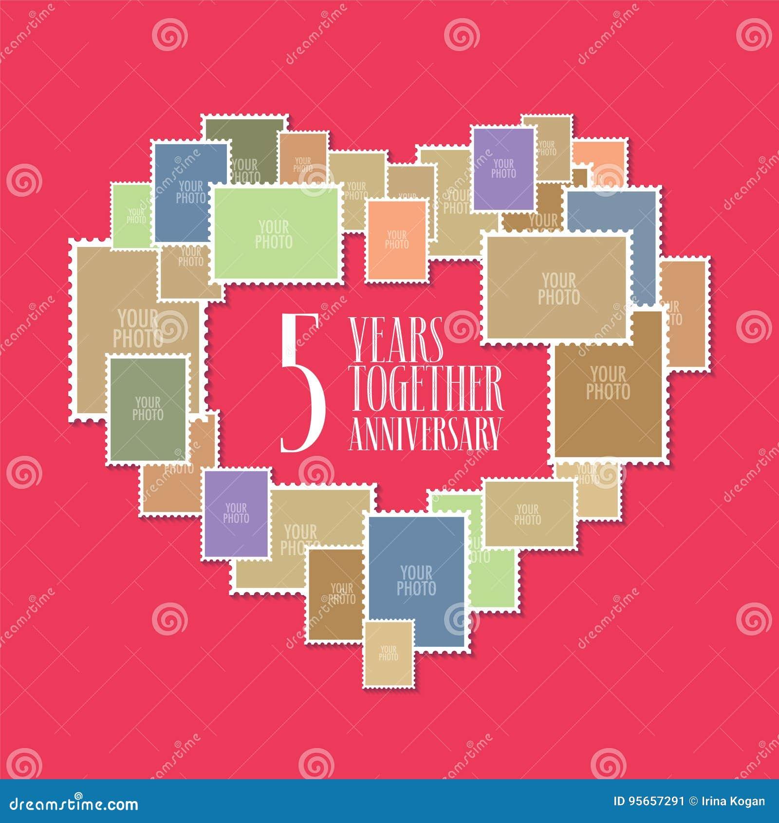Anniversario Matrimonio 5 Anni.5 Anni Di Icona Di Vettore Di Matrimonio O Di Nozze Illustrazione