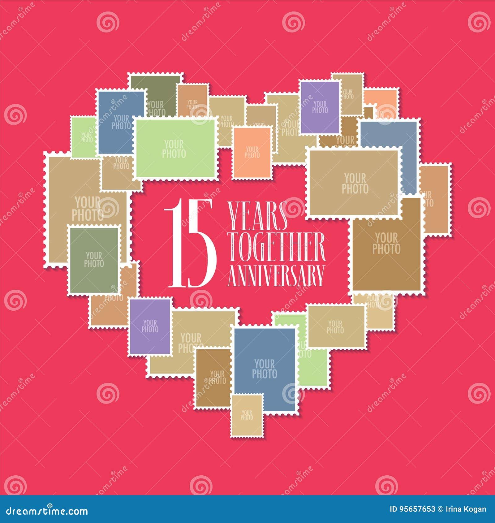 Anniversario 15 Anni Matrimonio.15 Anni Di Icona Di Vettore Di Matrimonio O Di Nozze