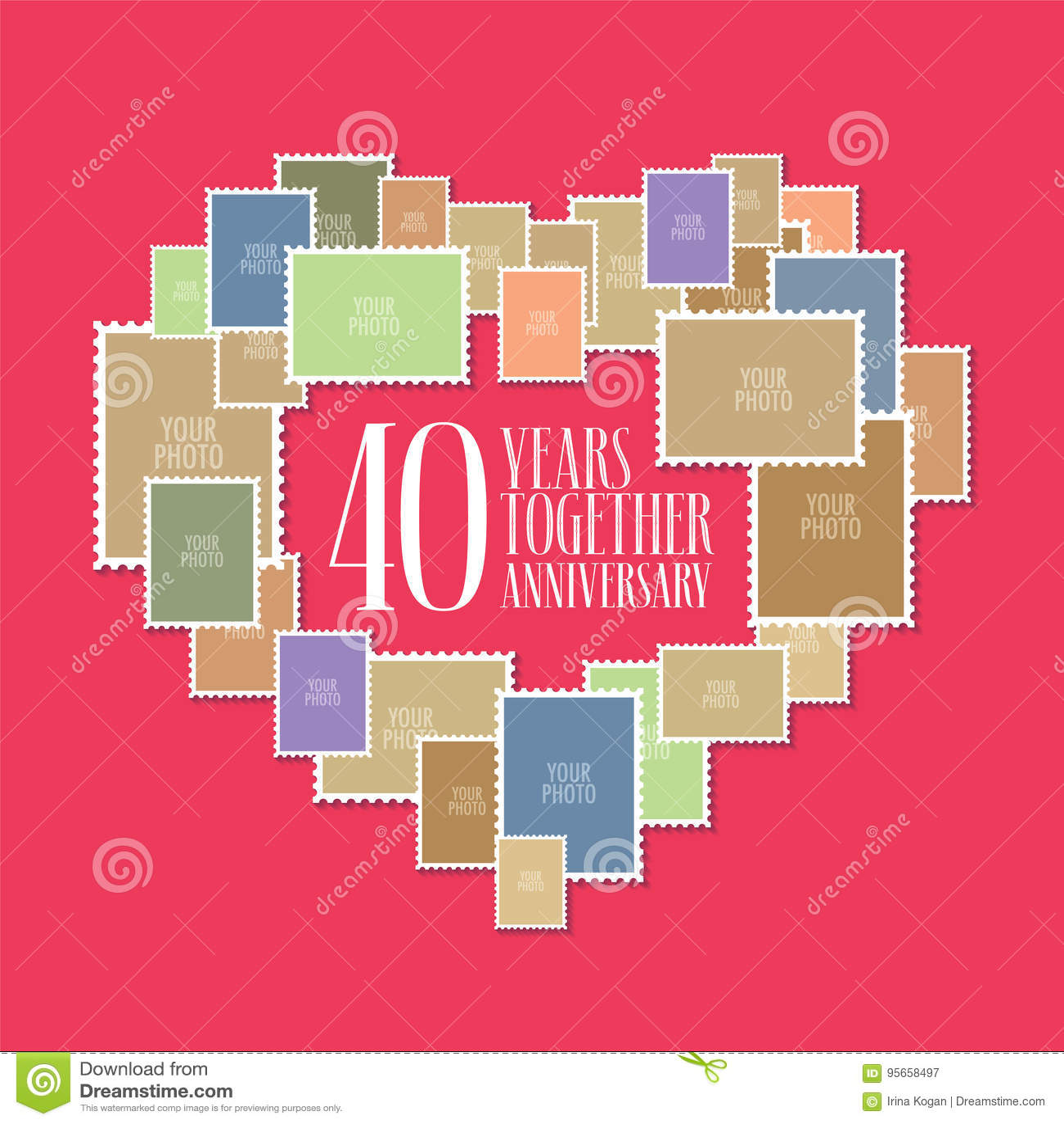 40 Anni Di Icona Di Vettore Di Matrimonio O Di Nozze Illustrazione