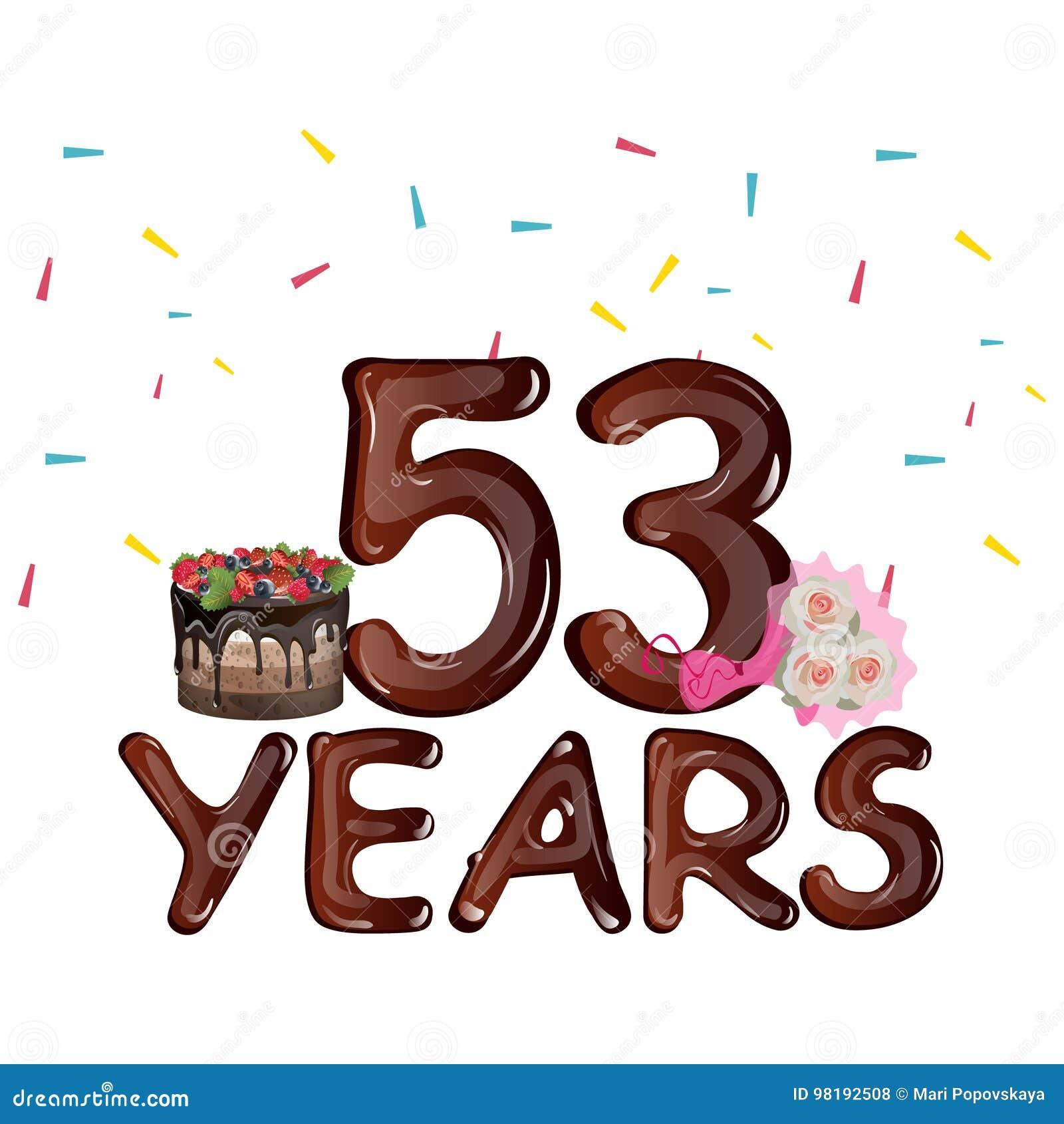 Auguri Buon Compleanno 53 Anni.53 Anni Di Progettazione Di Compleanno Per Le Cartoline D