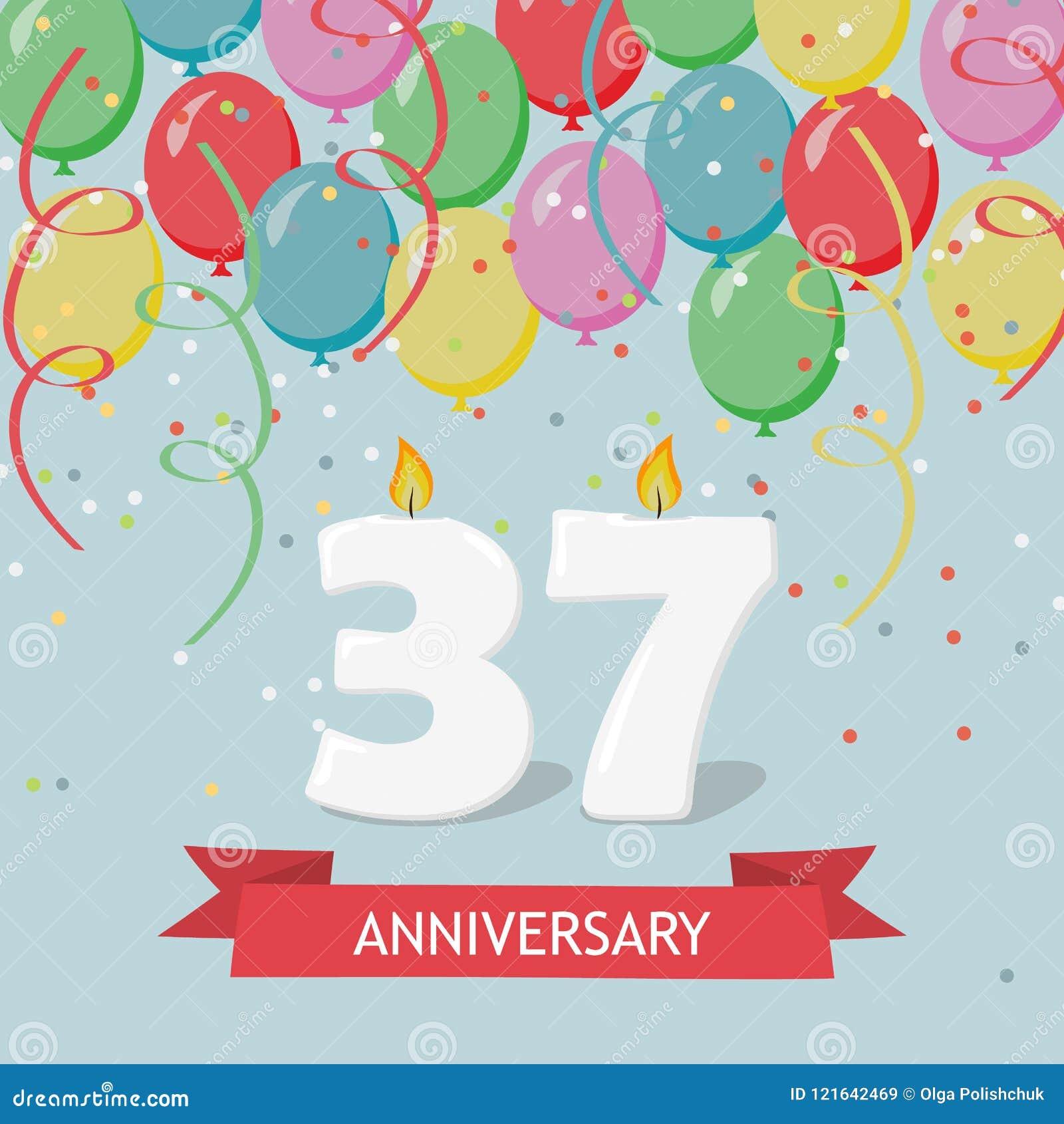 37 Anni Di Selebration Cartolina D'auguri Di Buon Compleanno