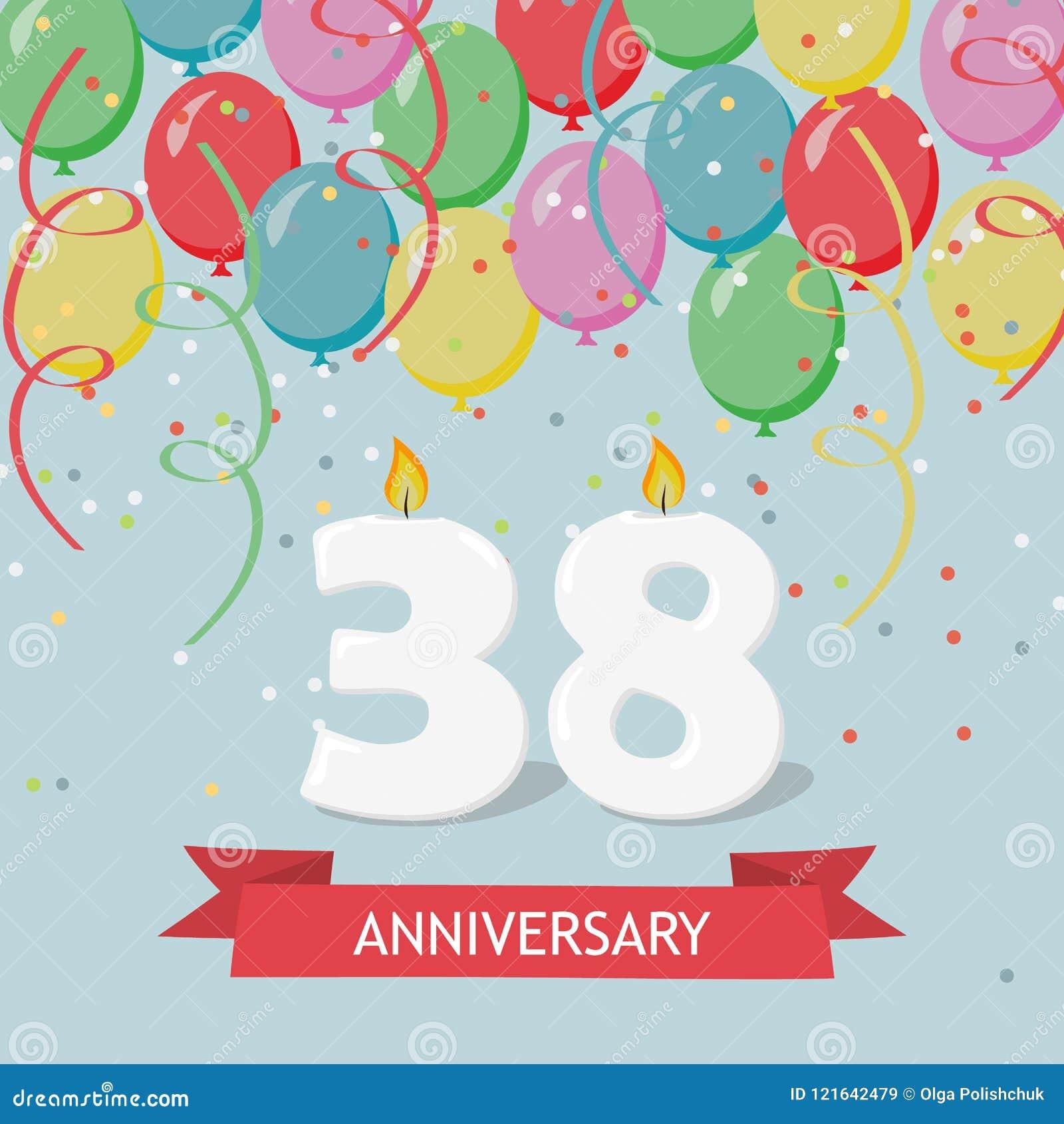 38 Anni Di Selebration Cartolina D'auguri Di Buon Compleanno Illustrazione  di Stock - Illustrazione di regalo, aerostato: 121642479