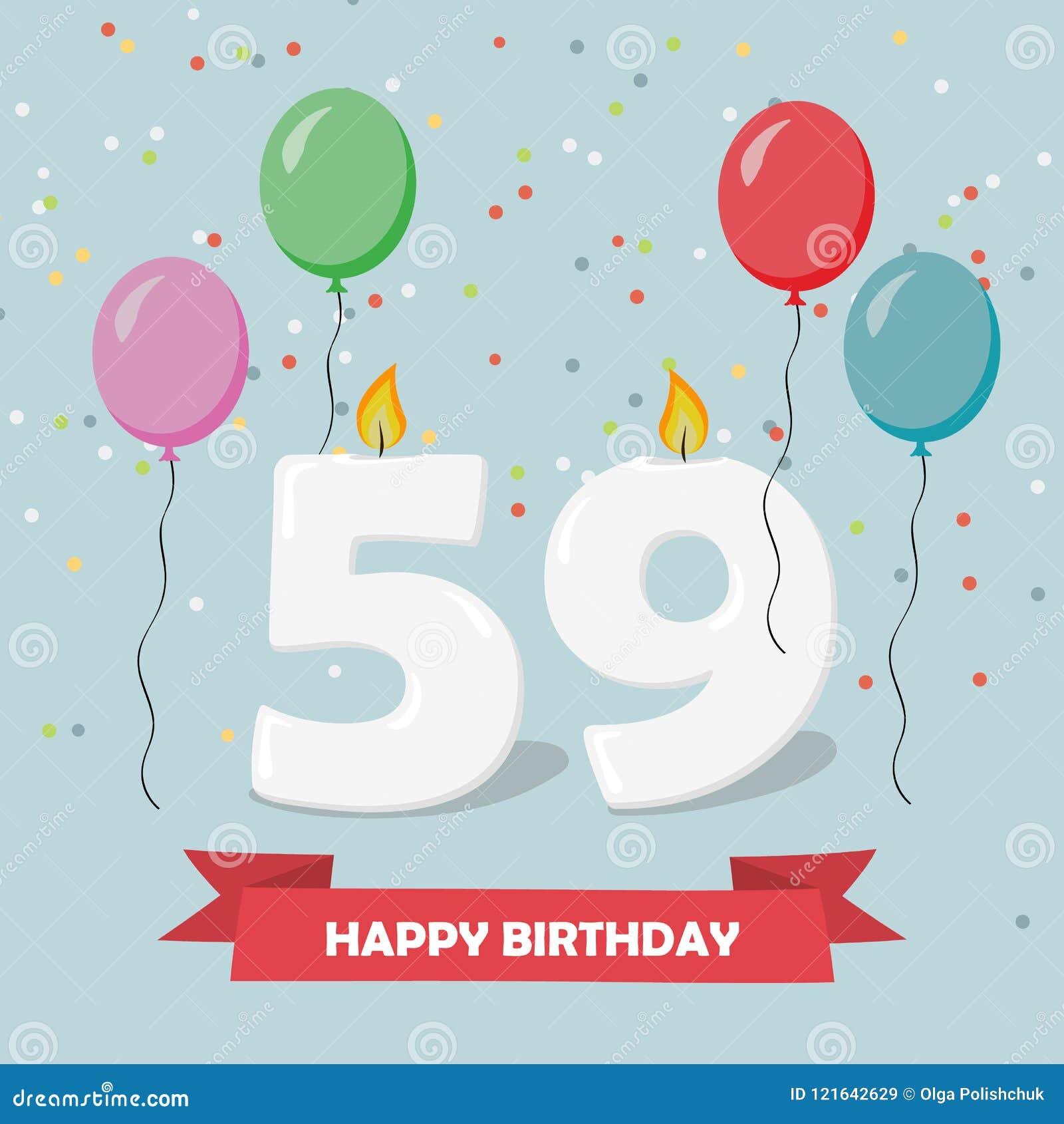 Auguri Di Buon Compleanno 65 Anni.59 Anni Di Selebration Cartolina D Auguri Di Buon Compleanno