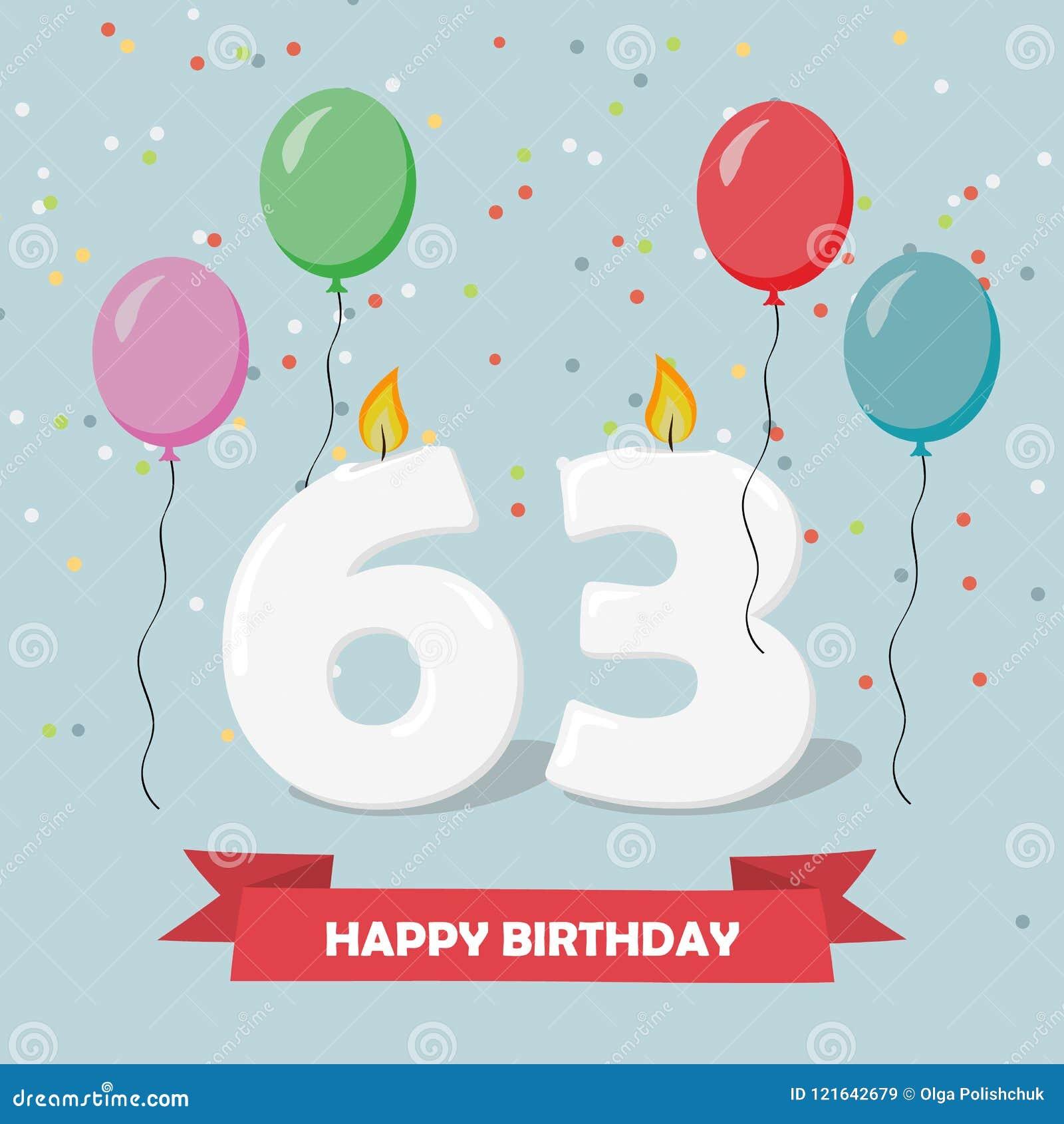 63 Anni Di Selebration Cartolina D Auguri Di Buon Compleanno