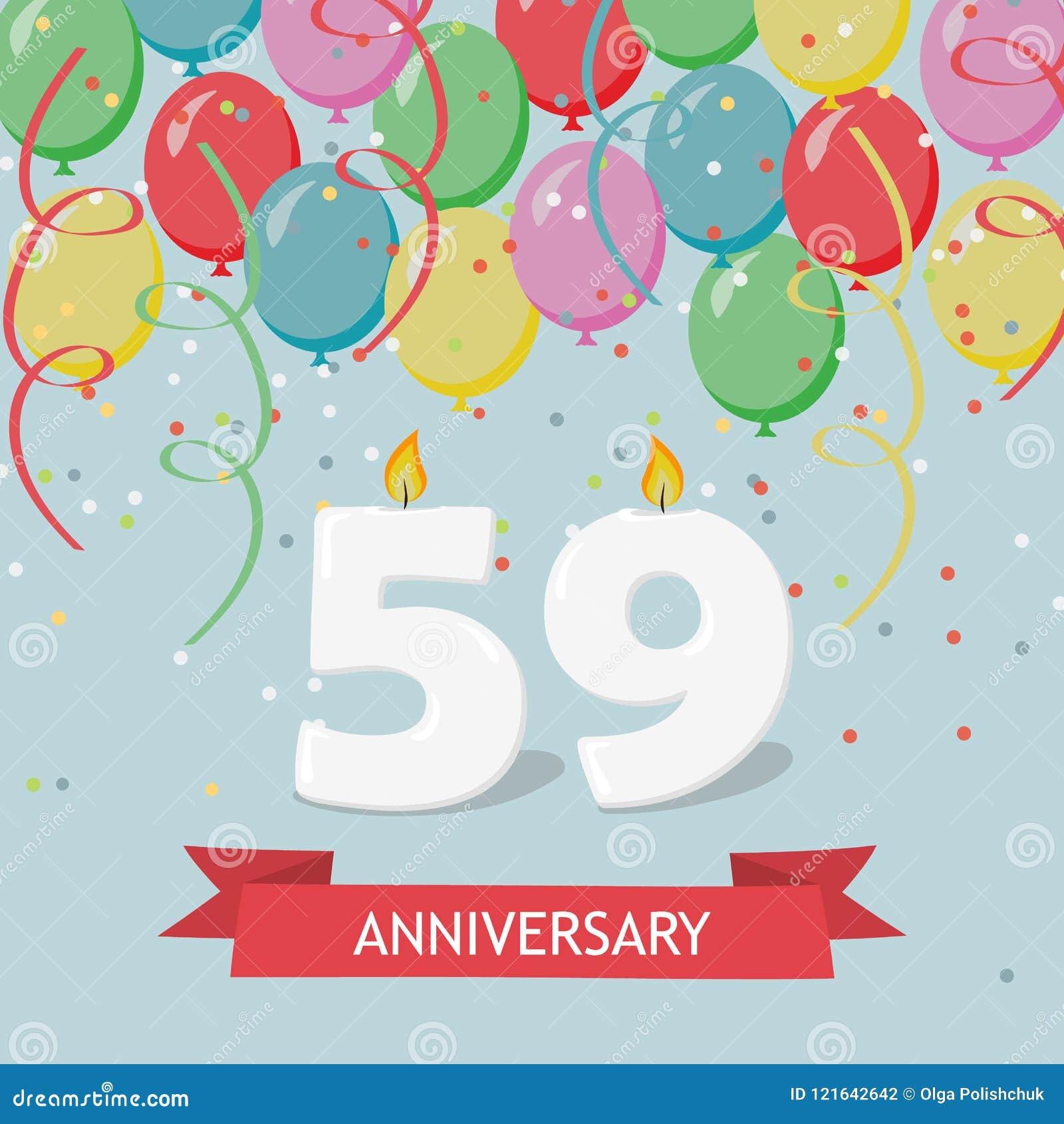 59 Anni Di Selebration Cartolina D Auguri Di Buon Compleanno Con Le