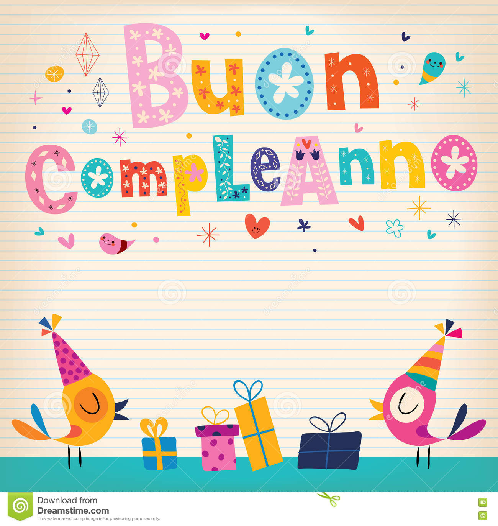 Anniversaire De Compleanno De Buon Joyeux En Italien Illustration De