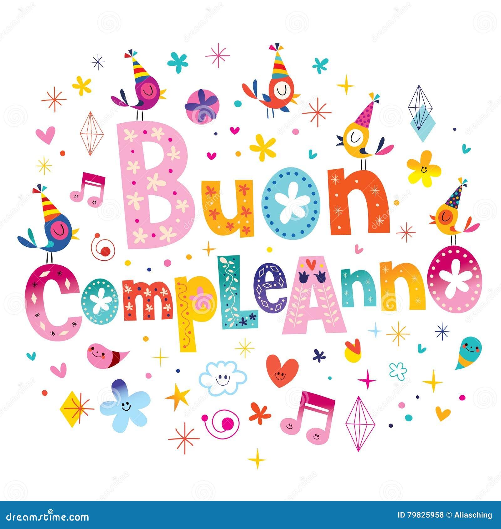 Top Anniversaire De Compleanno De Buon Joyeux En Italien Illustration  EZ02