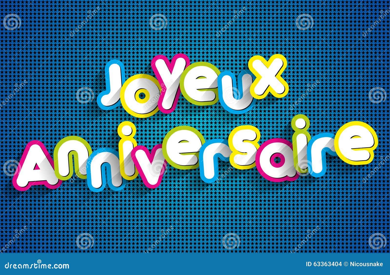 Anniversaire Di Joyeux   Buon Compleanno In Francese Illustrazione