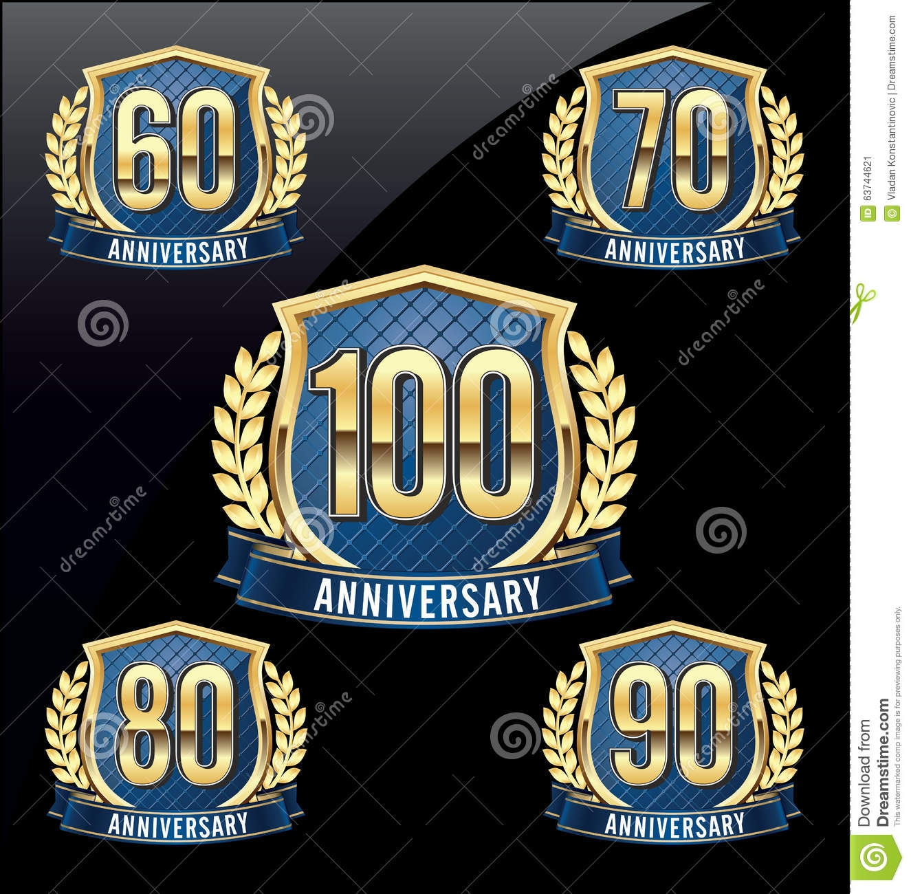 Anniversary Badge Gold and Blue 60th, 70th, 80th, 90th, 100th Years