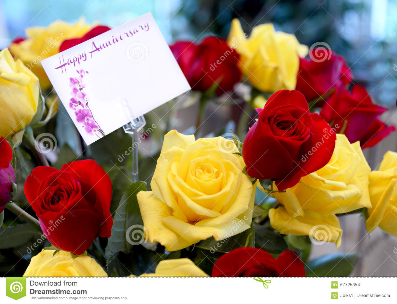 Anniversary Bouquet Stock Photo Image Of Yellow Greetings 67725354