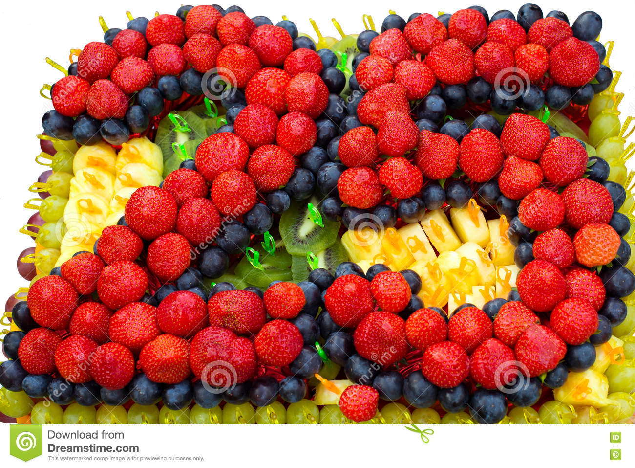 Cake With Fruits 25 Years The Jubilee Design Of And Berries Fruit Festive Dessert For Birthday Anniversary