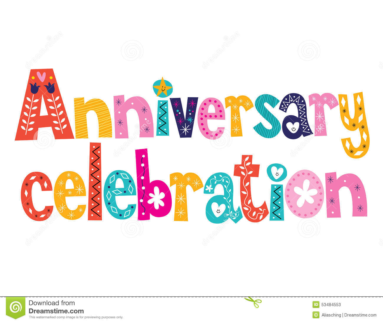 Anniversary celebration decorative lettering text design