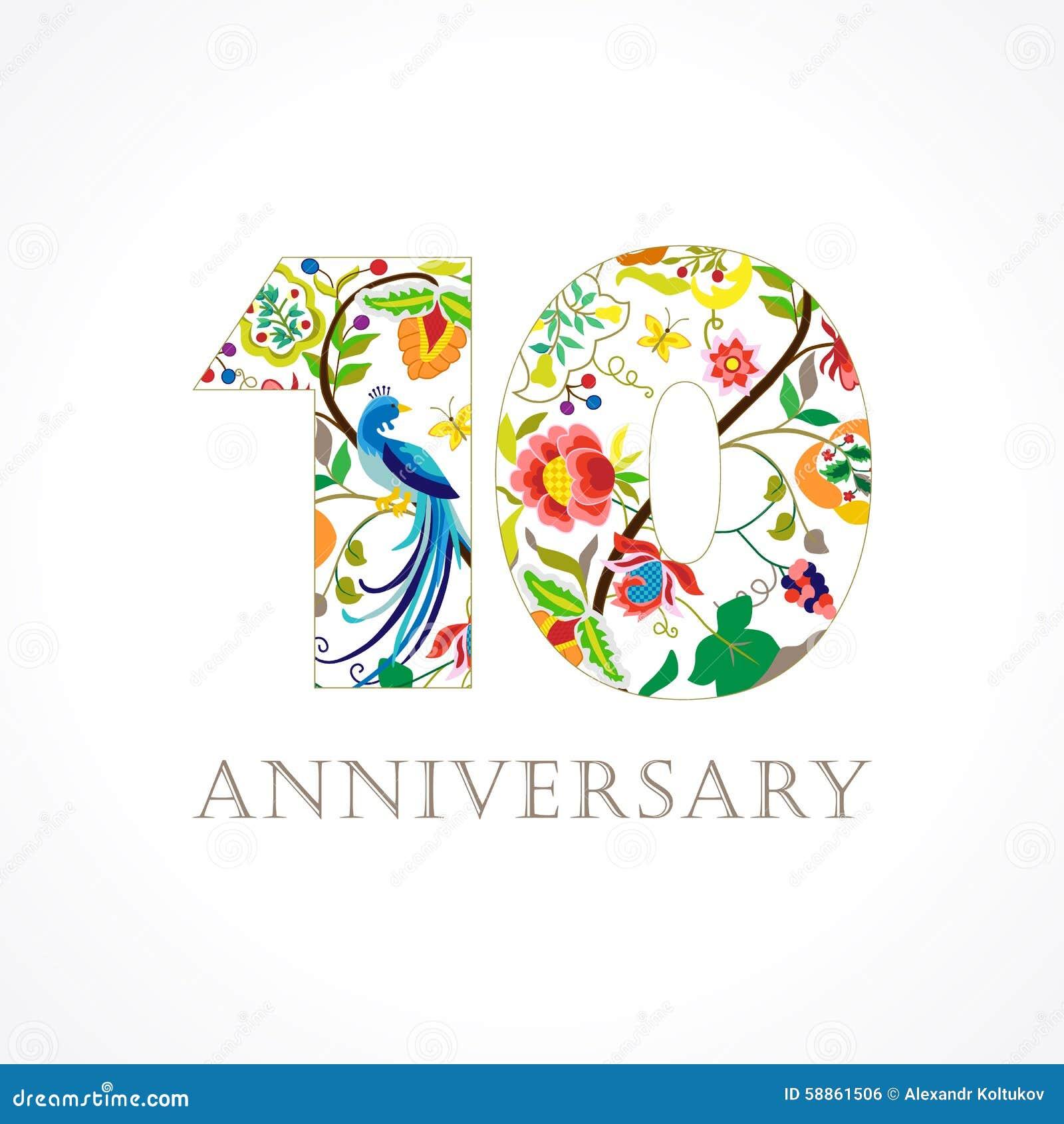 Anniversary folk logo stock vector image