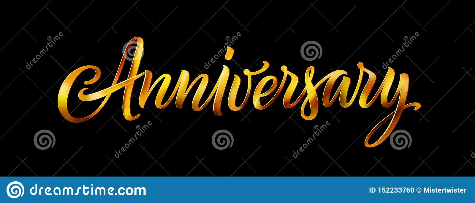 Anniversary Gold Vector Text Isolated On Black Background
