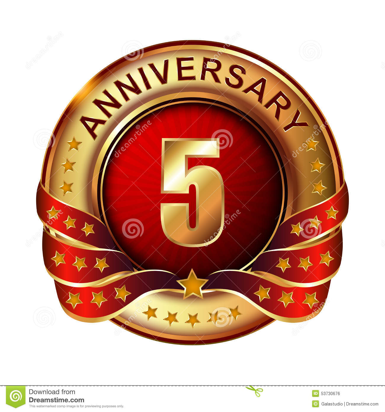 Anniversary golden label with ribbon stock illustration