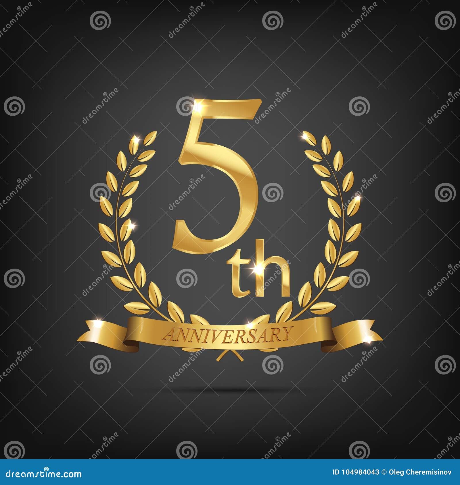 5 anniversary golden symbol golden laurel wreaths with ribbons 5 anniversary golden symbol golden laurel wreaths with ribbons and fifth anniversary year symbol on dark background biocorpaavc Gallery