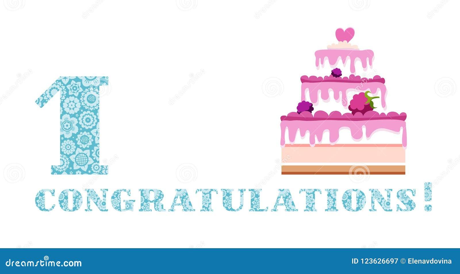 Anniversary Greetings 1 Year Berry Cake English White Blue
