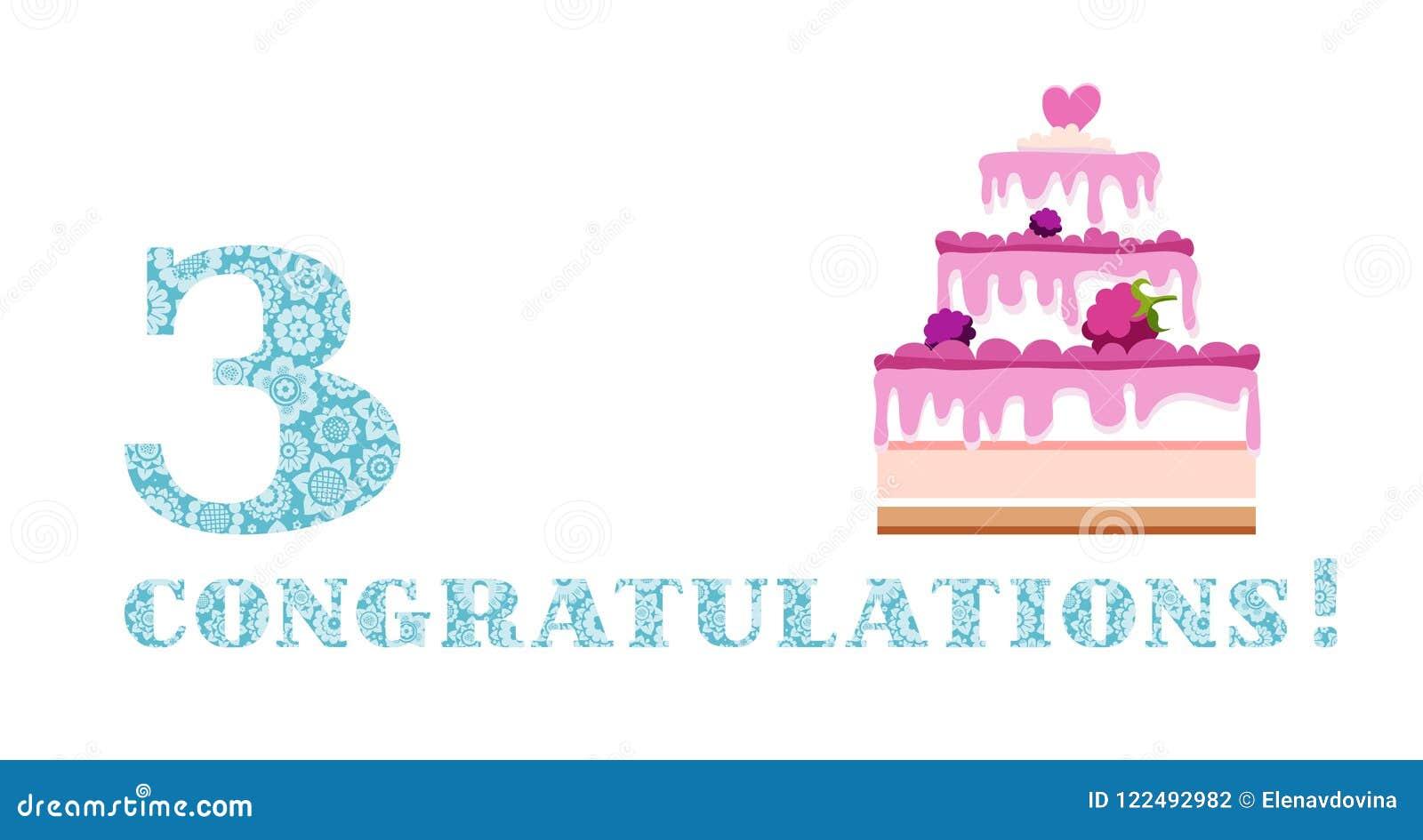 Anniversary greetings 3 years berry cake english white blue anniversary greetings 3 years berry cake english white blue vector m4hsunfo