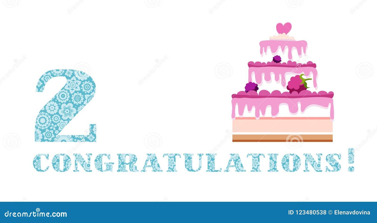 Anniversary Greetings 2 Years Berry Cake English White Blue