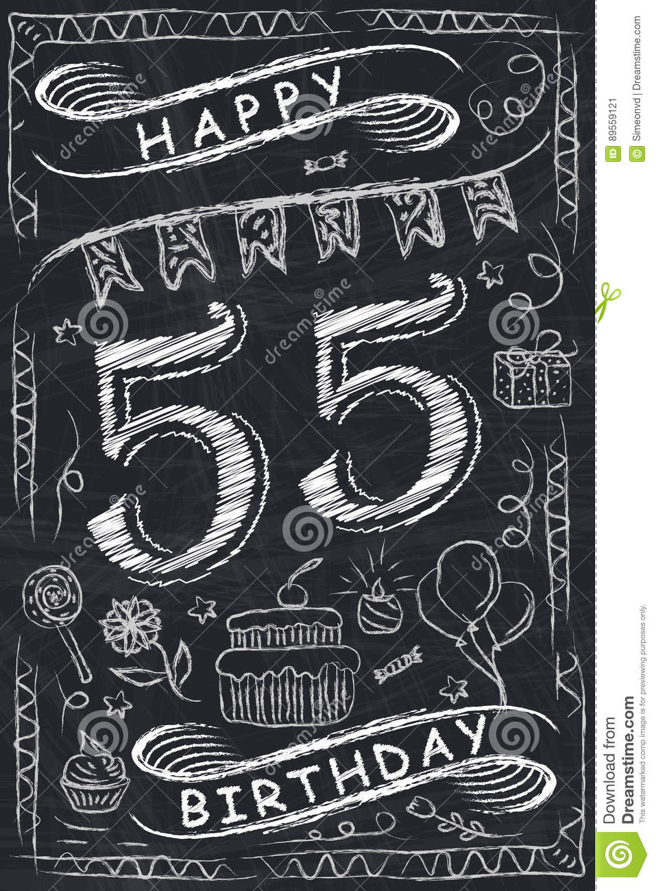 Anniversary Happy Birthday Card Design On Chalkboard 55 Years