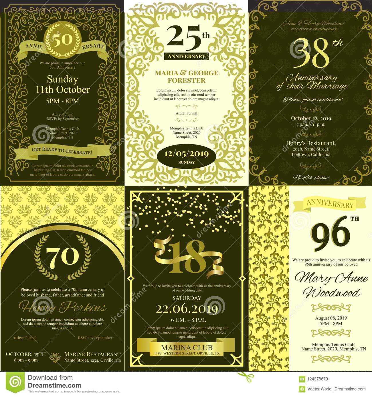 Anniversary invitation vector card inviting to birthday party or download anniversary invitation vector card inviting to birthday party or wedding celebration background golden design template stopboris Images