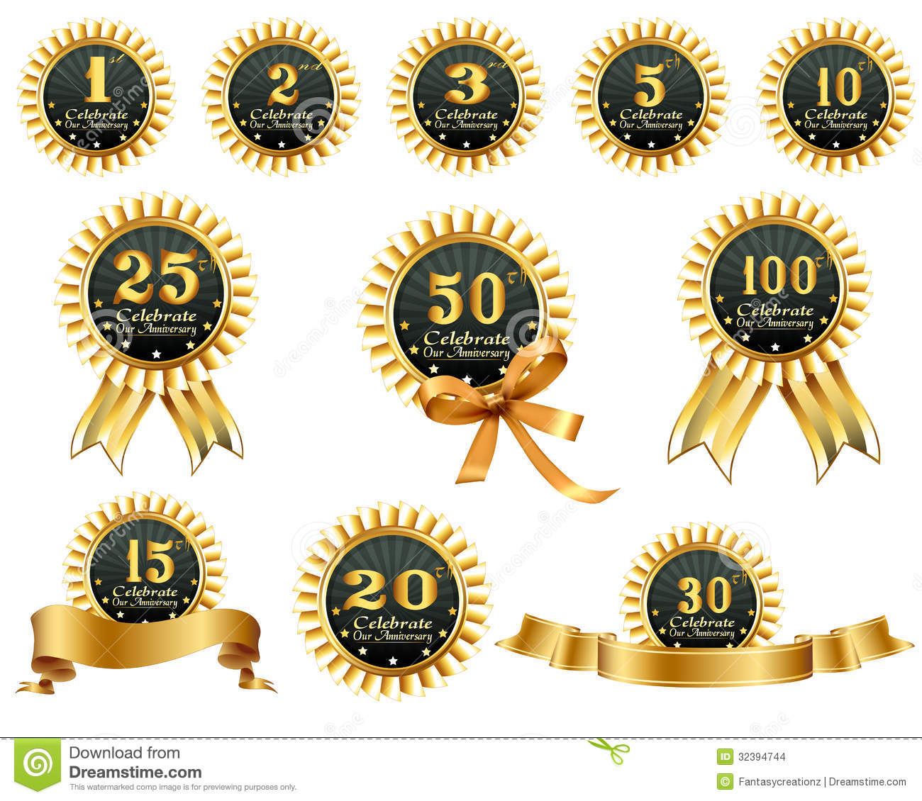 Anniversary ribbons stock images image
