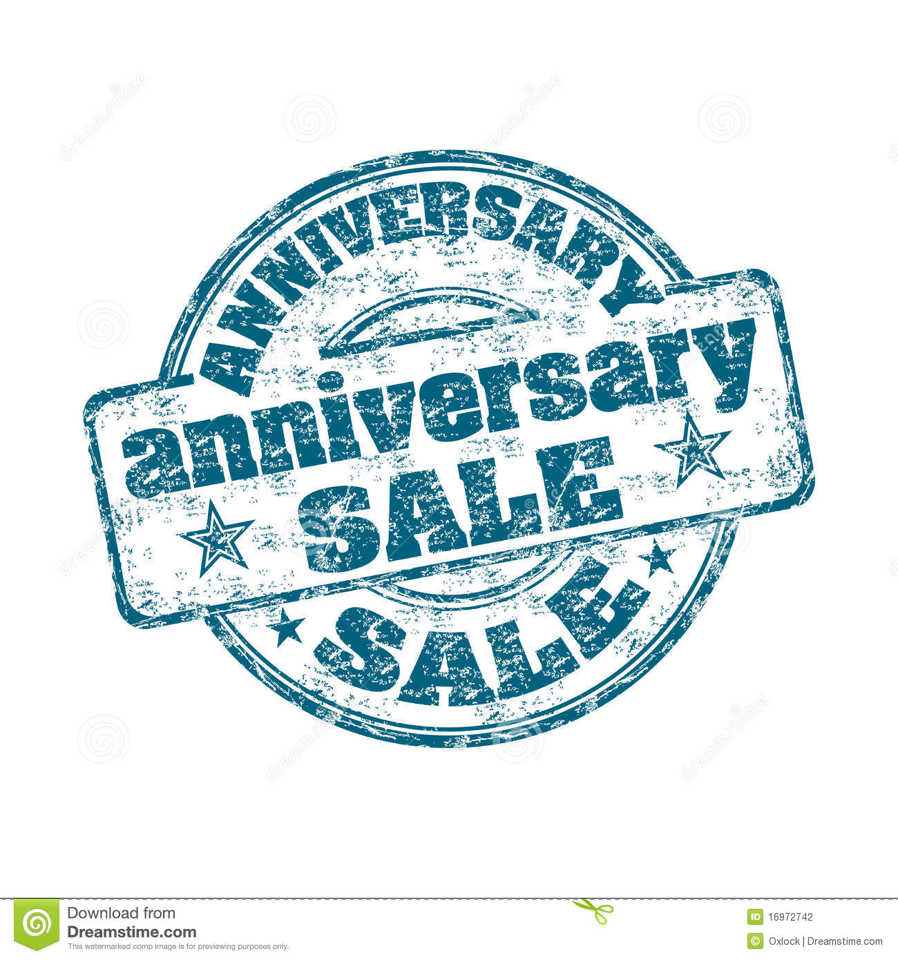 Anniversary sale rubber stamp stock photography image
