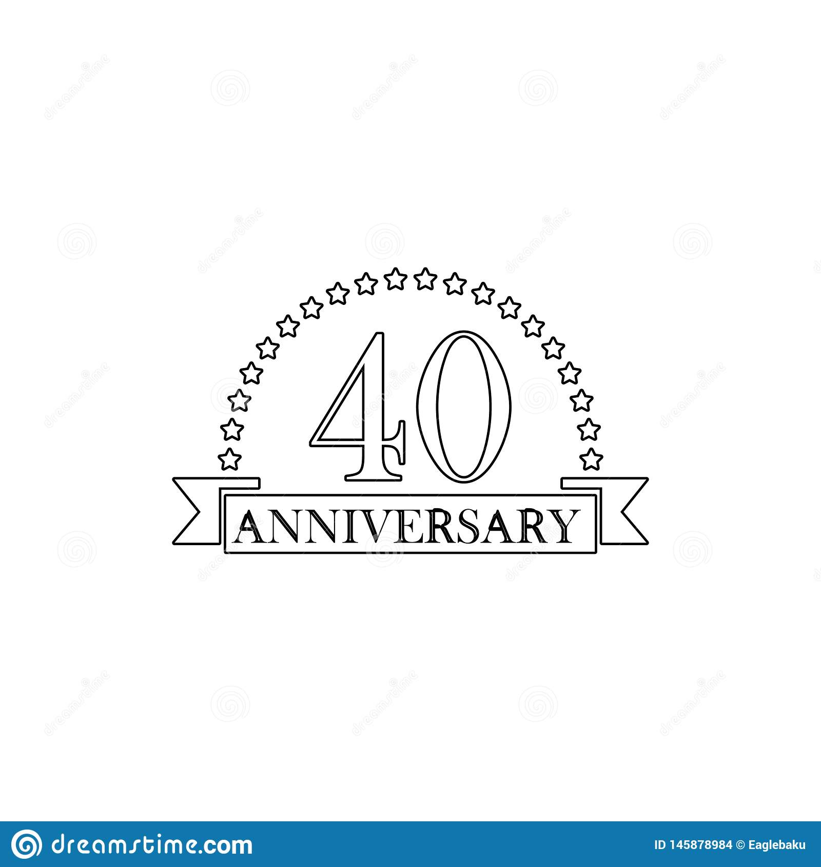 40 anniversary sign. Element of anniversary illustration. Premium quality graphic design icon. Signs and symbols collection icon