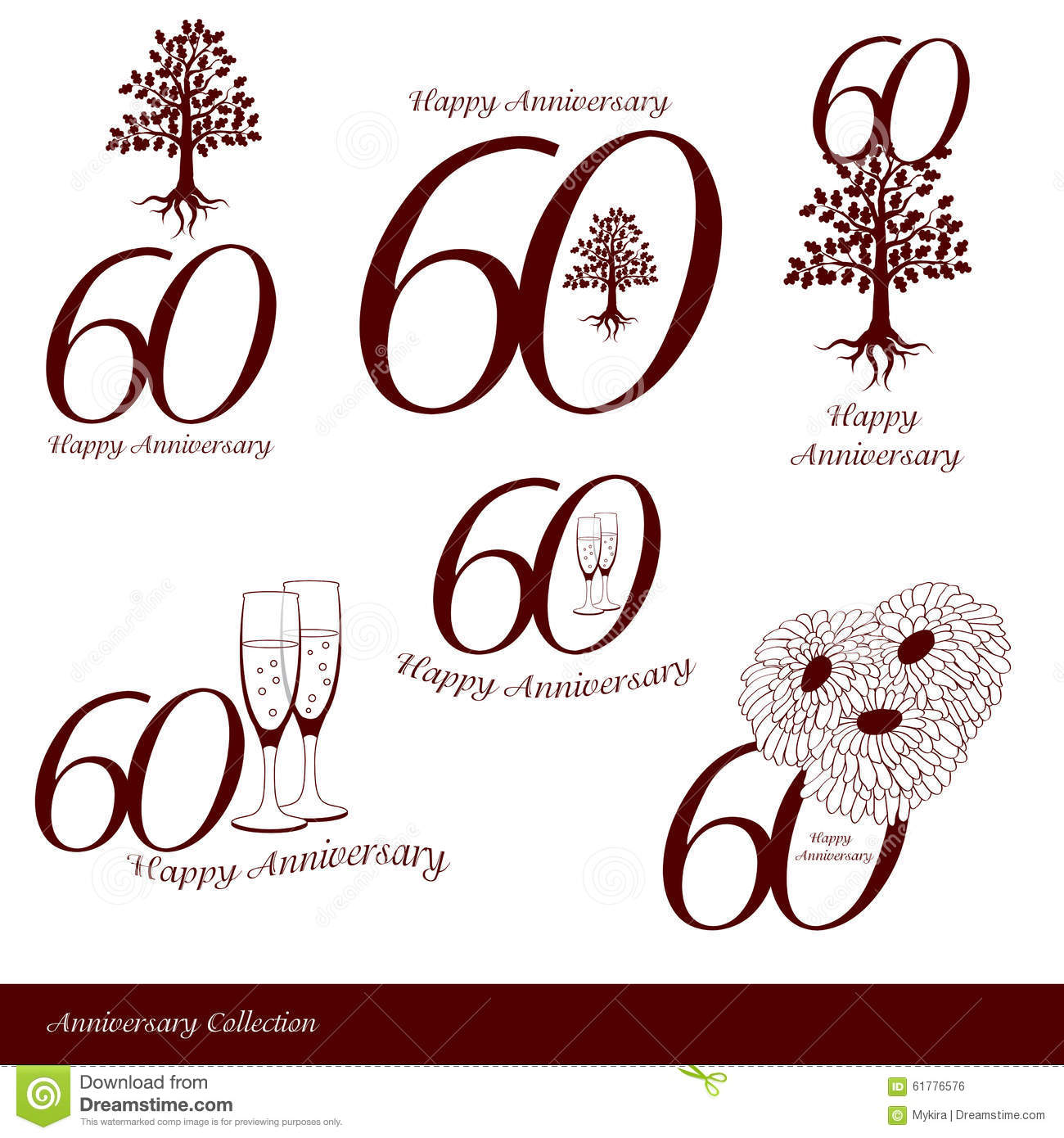 Anniversary 60th signs collection stock vector image for 60 wedding anniversary symbol