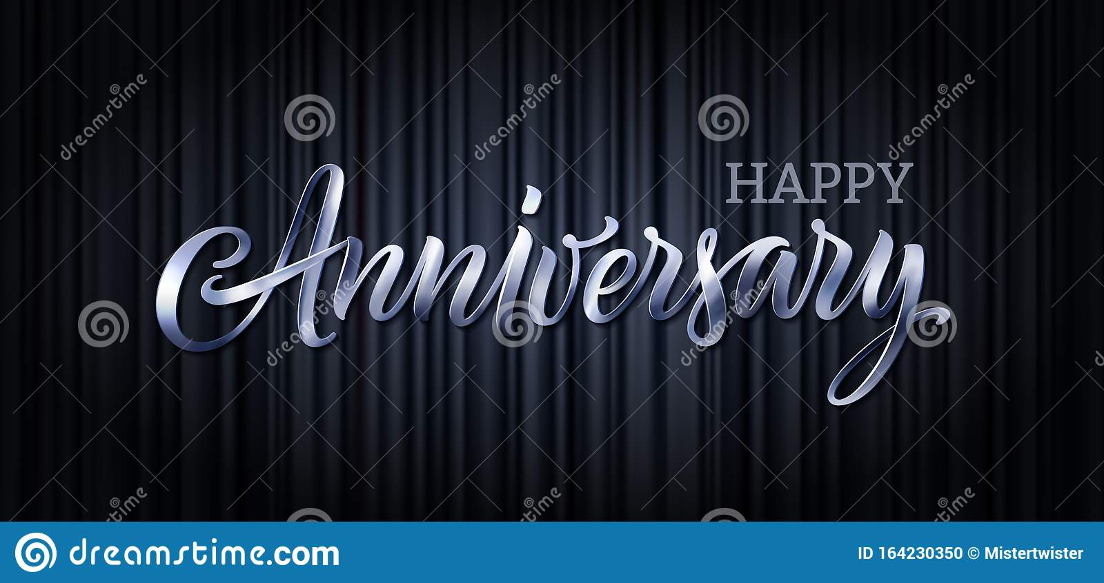 Anniversary Vector Text Banner Letter Poster Happy Anniversary