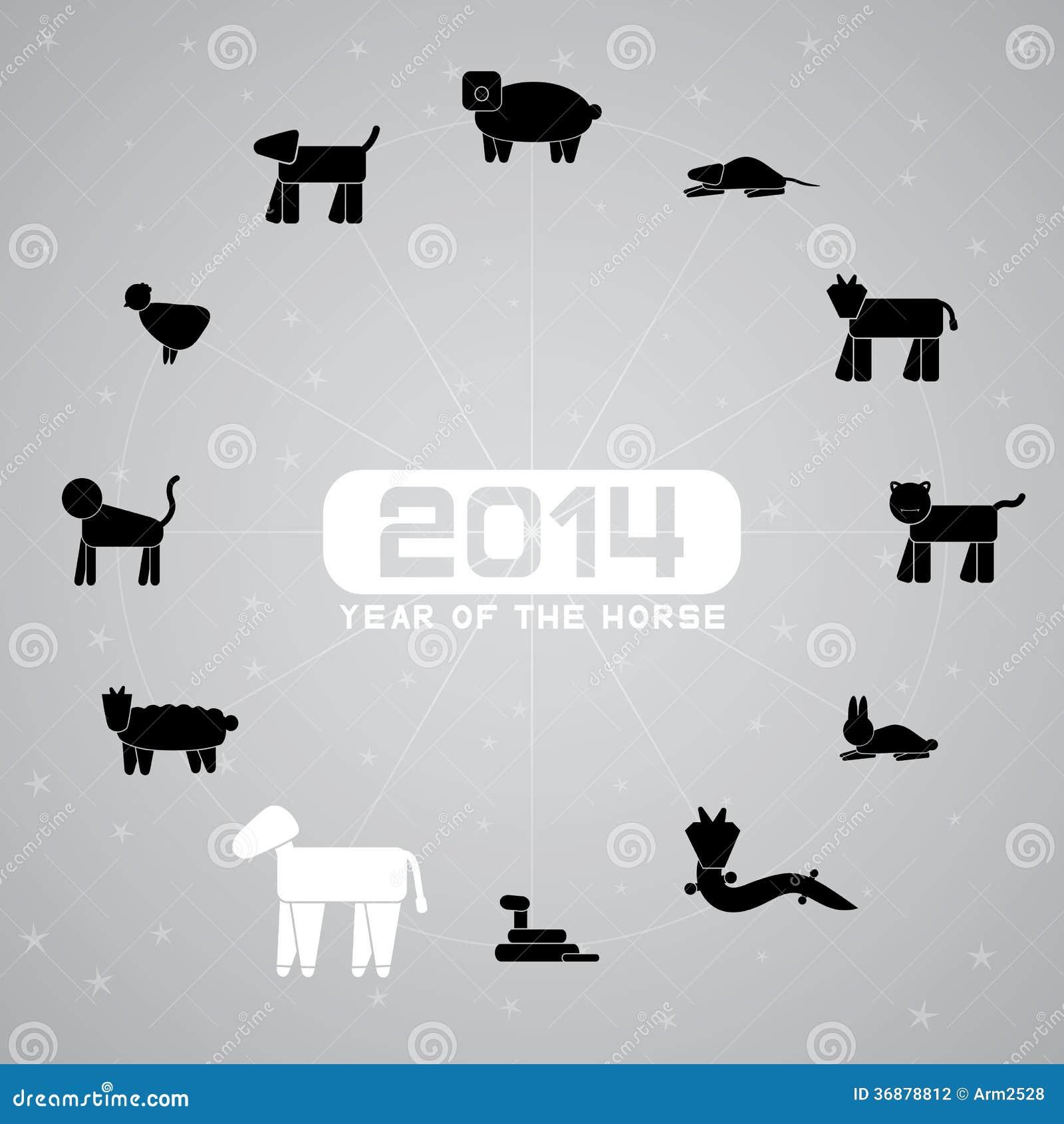Download Anno del cavallo illustrazione vettoriale. Illustrazione di drago - 36878812
