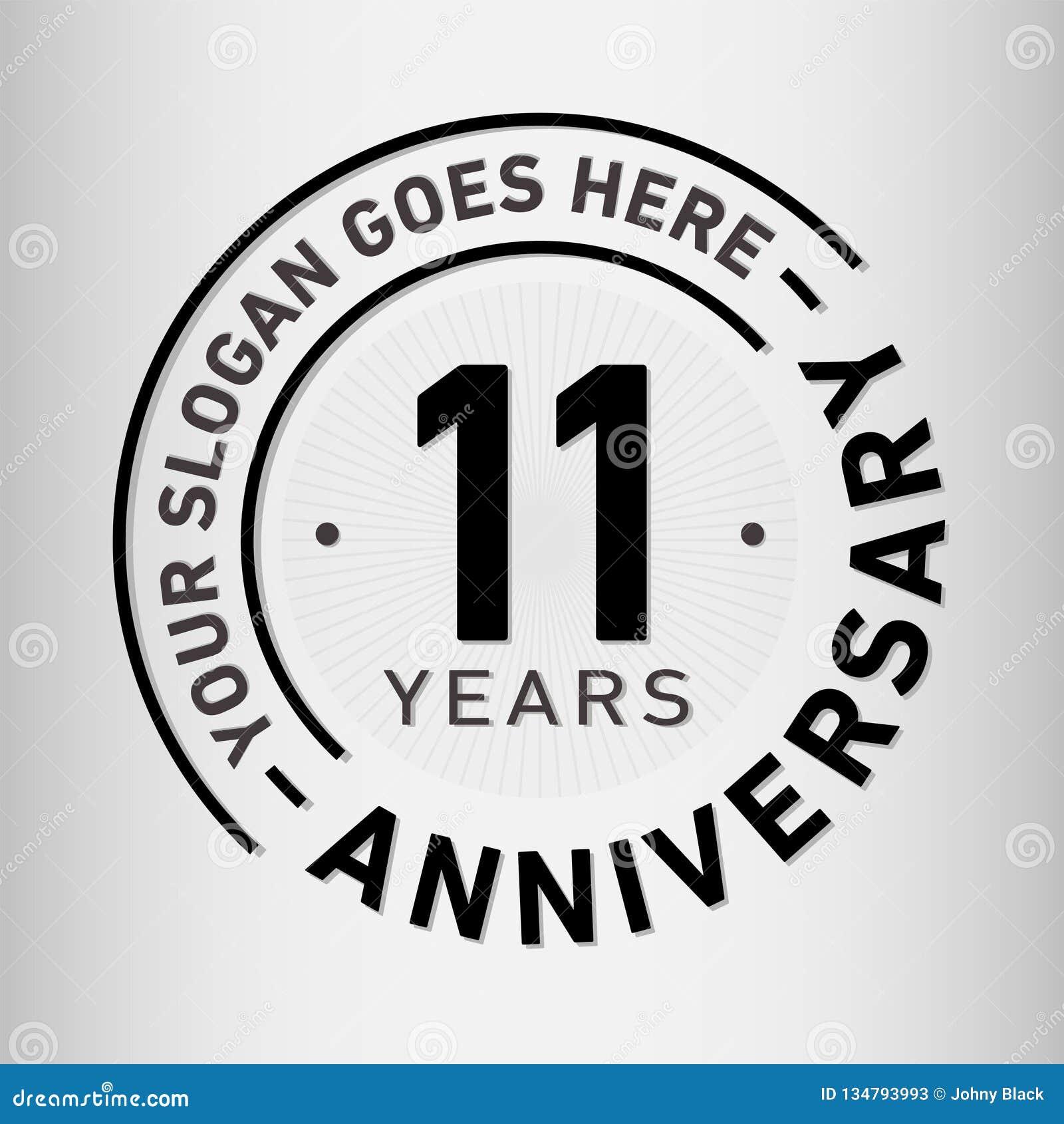 11 anno di anniversario di celebrazione di modello di progettazione Vettore ed illustrazione di anniversario Undici anni di logo