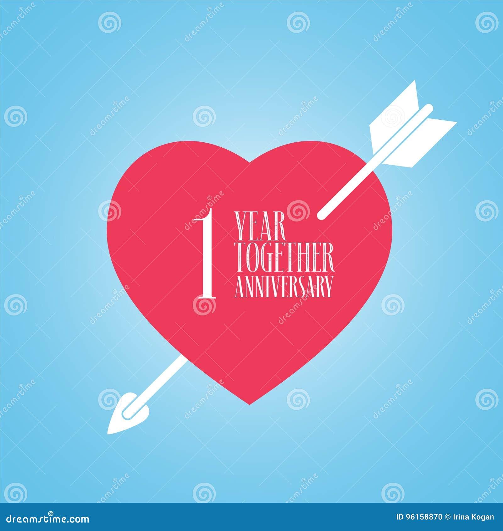 Anniversario Di Matrimonio Un Anno.1 Anno Di Anniversario Dell Icona Di Vettore Di Matrimonio O