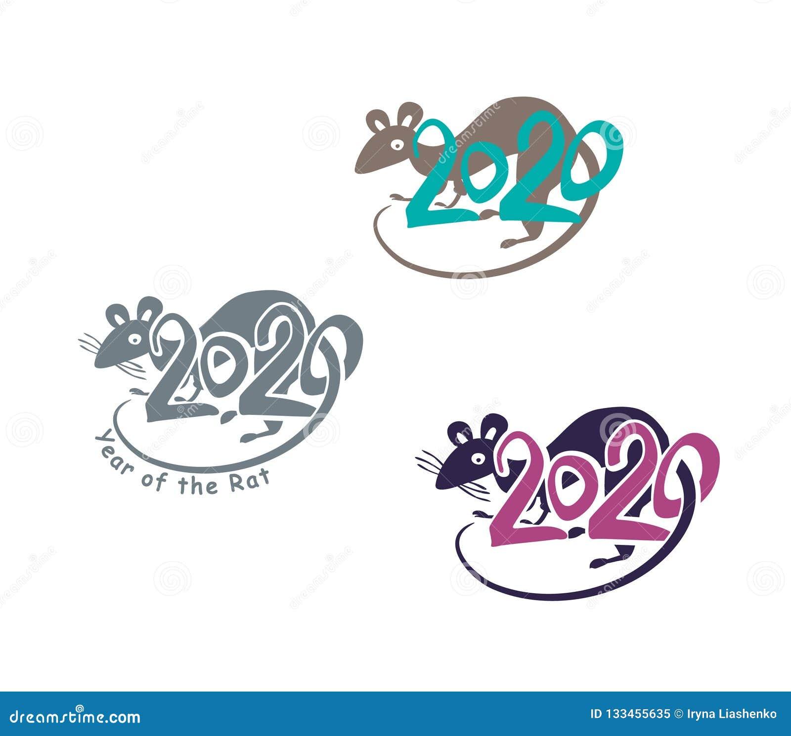 2020 Calendario Cinese.Anno Dipinto Variopinto Di Simboli Del Ratto 2020 Sul