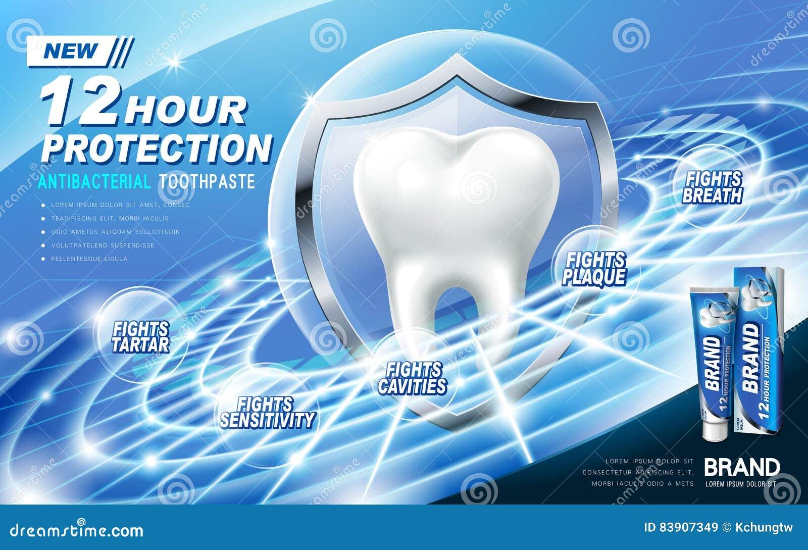 Annonce antibactérienne de pâte dentifrice