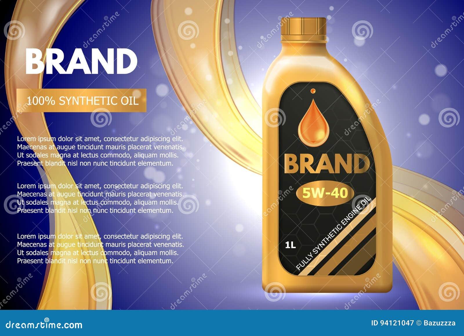 Annonce de récipient de produit pétrolier de moteur Illustration du vecteur 3d Conception de calibre de bouteille d huile à moteu